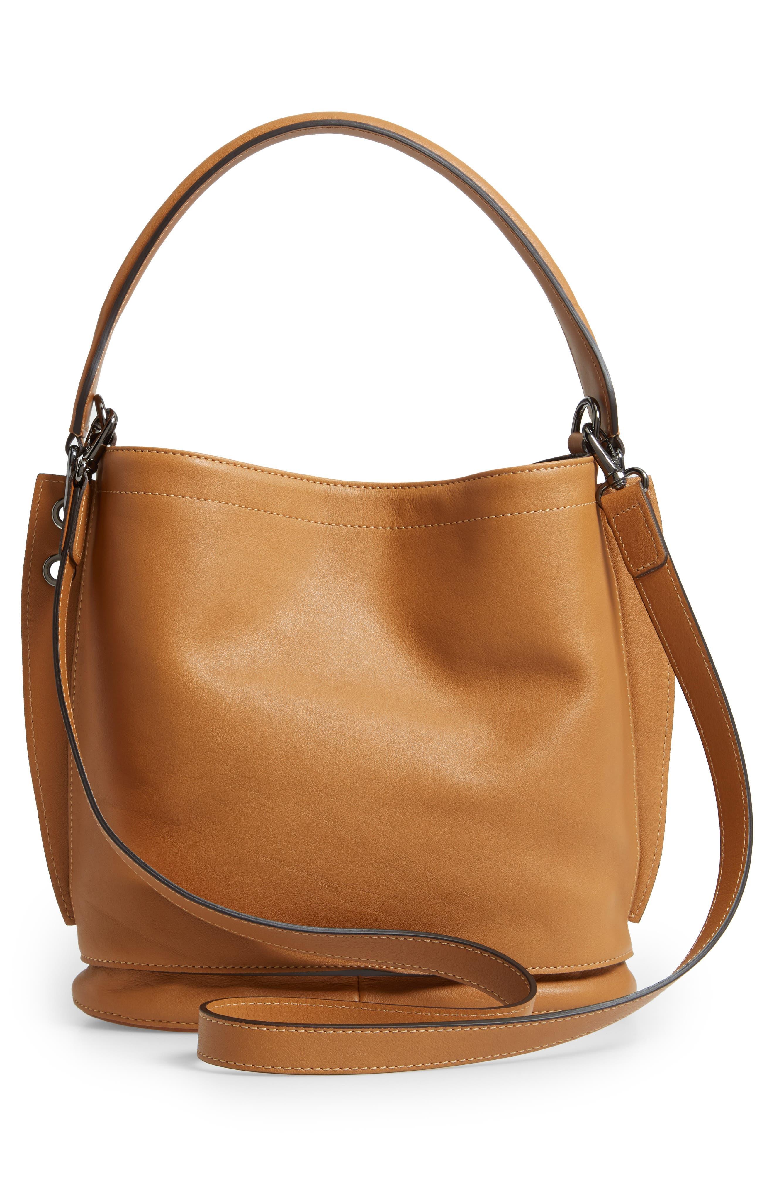 3D Leather Bucket Bag,                             Alternate thumbnail 3, color,                             NATURAL