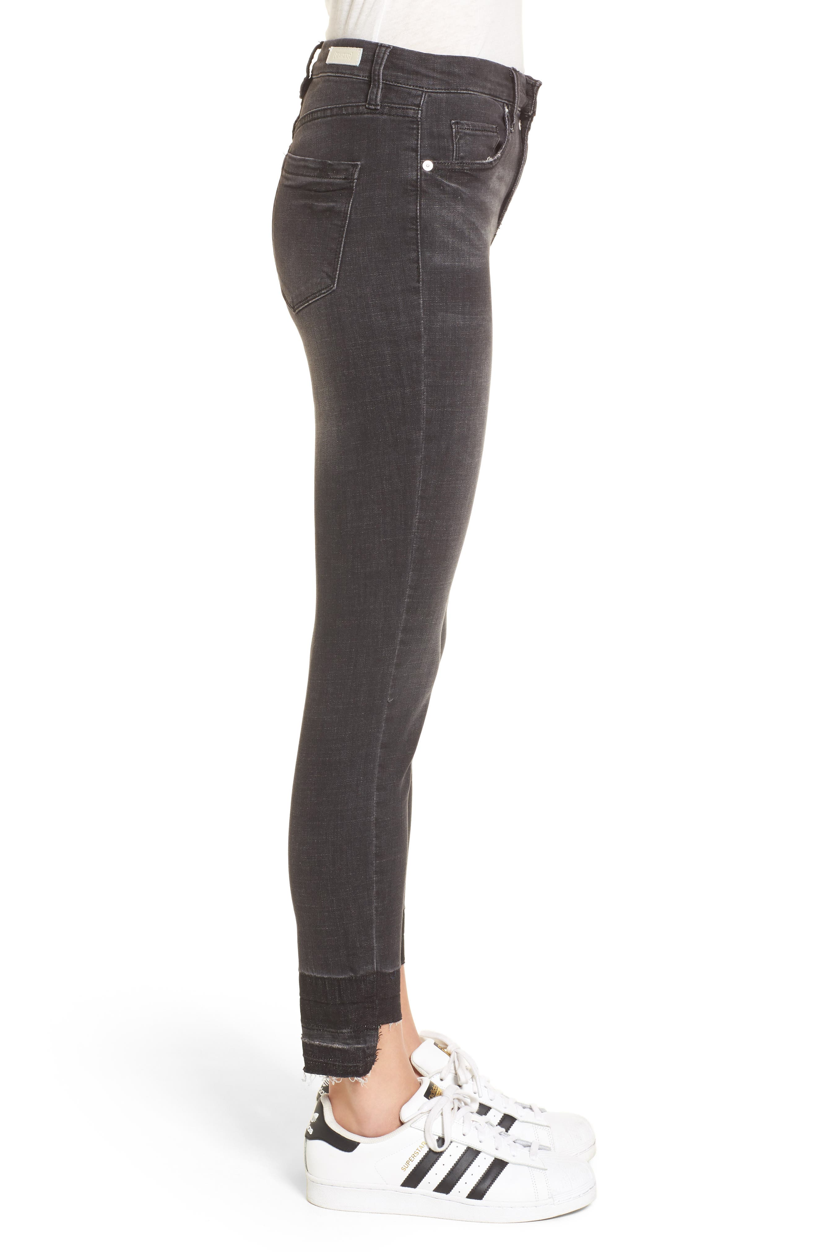Cry Baby Release Hem Skinny Jeans,                             Alternate thumbnail 3, color,                             001