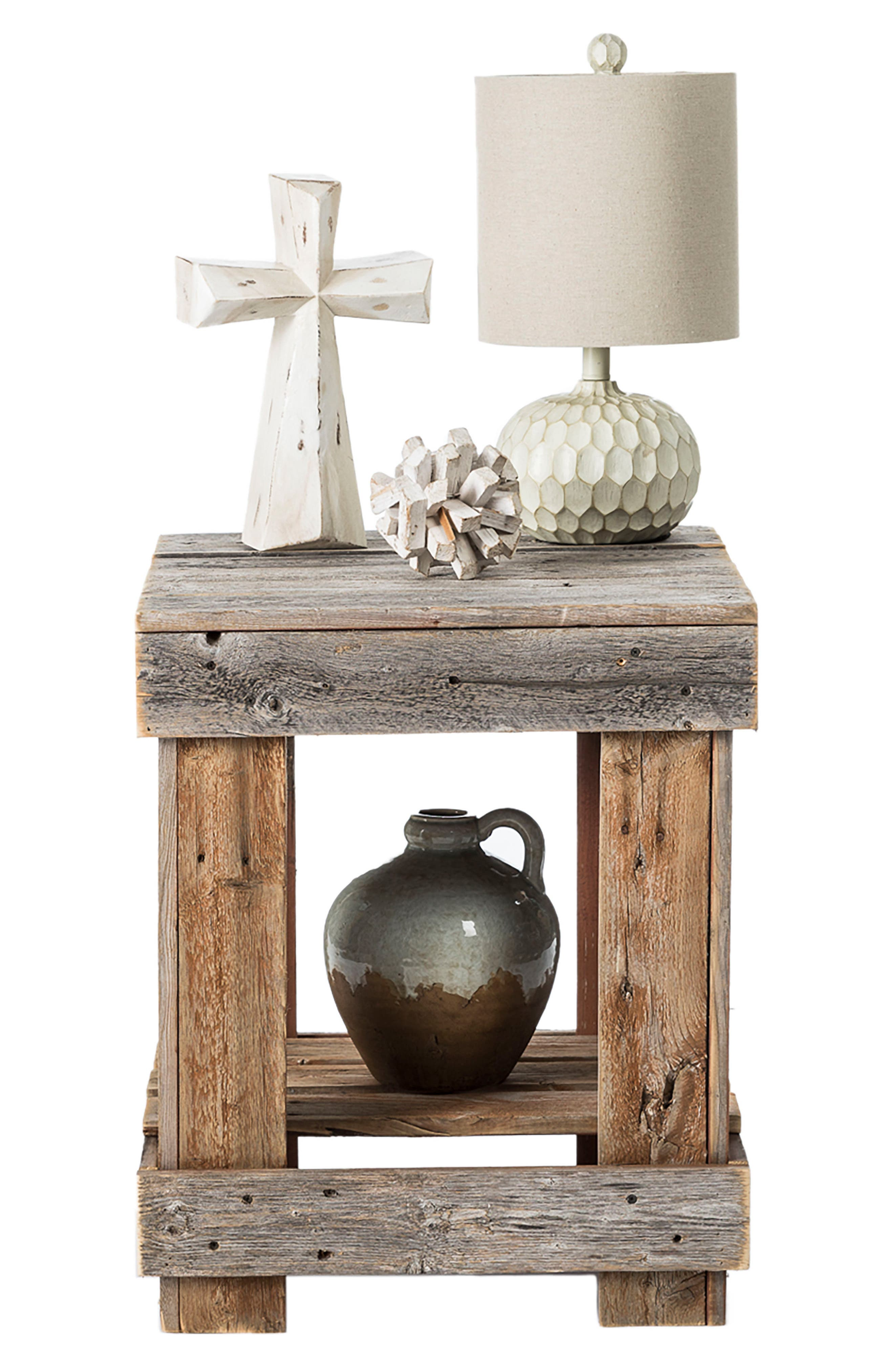 Repurposed Barnwood End Table,                             Alternate thumbnail 4, color,                             200