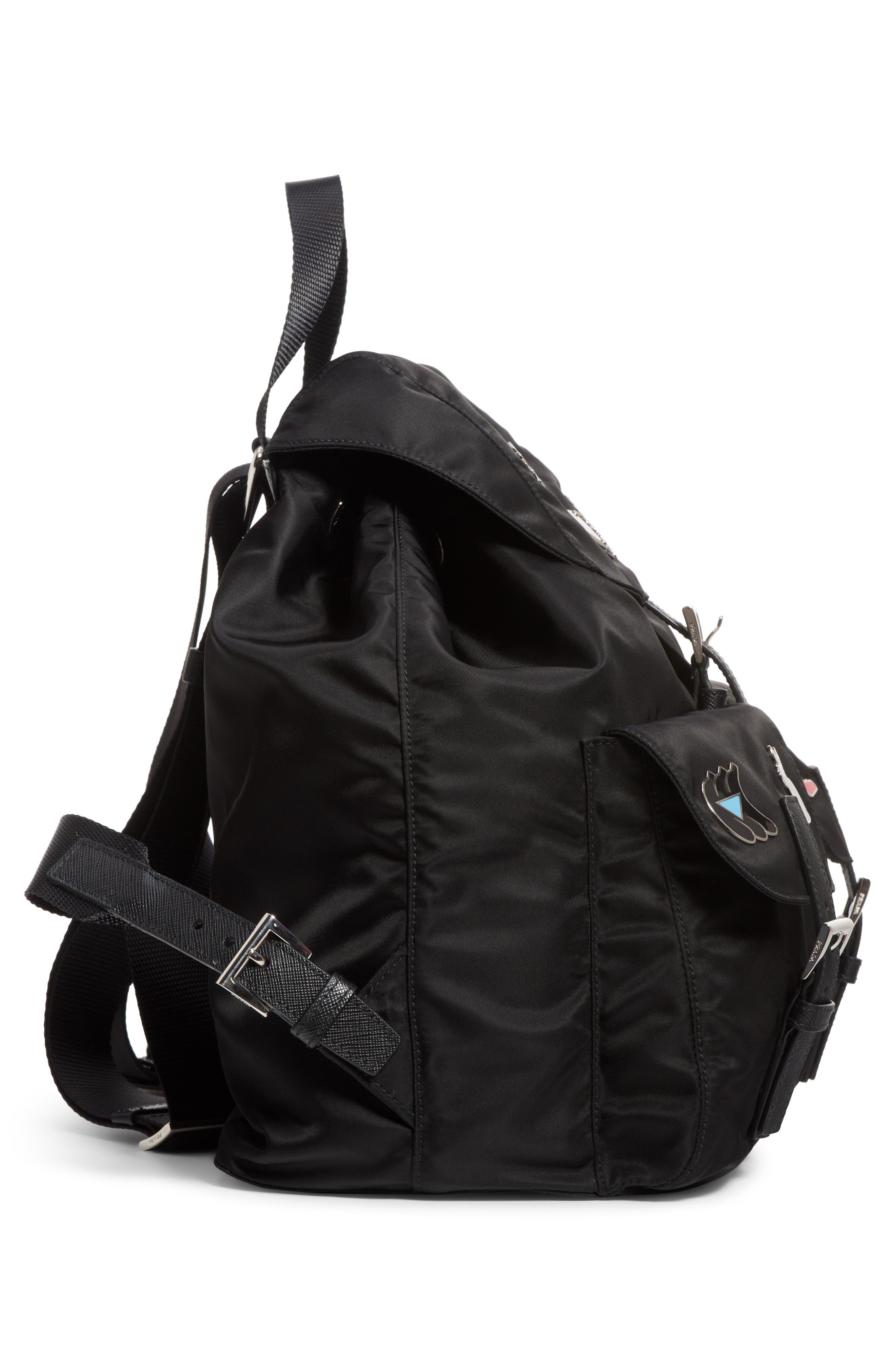 Embellished Nylon Backpack,                             Alternate thumbnail 3, color,                             001