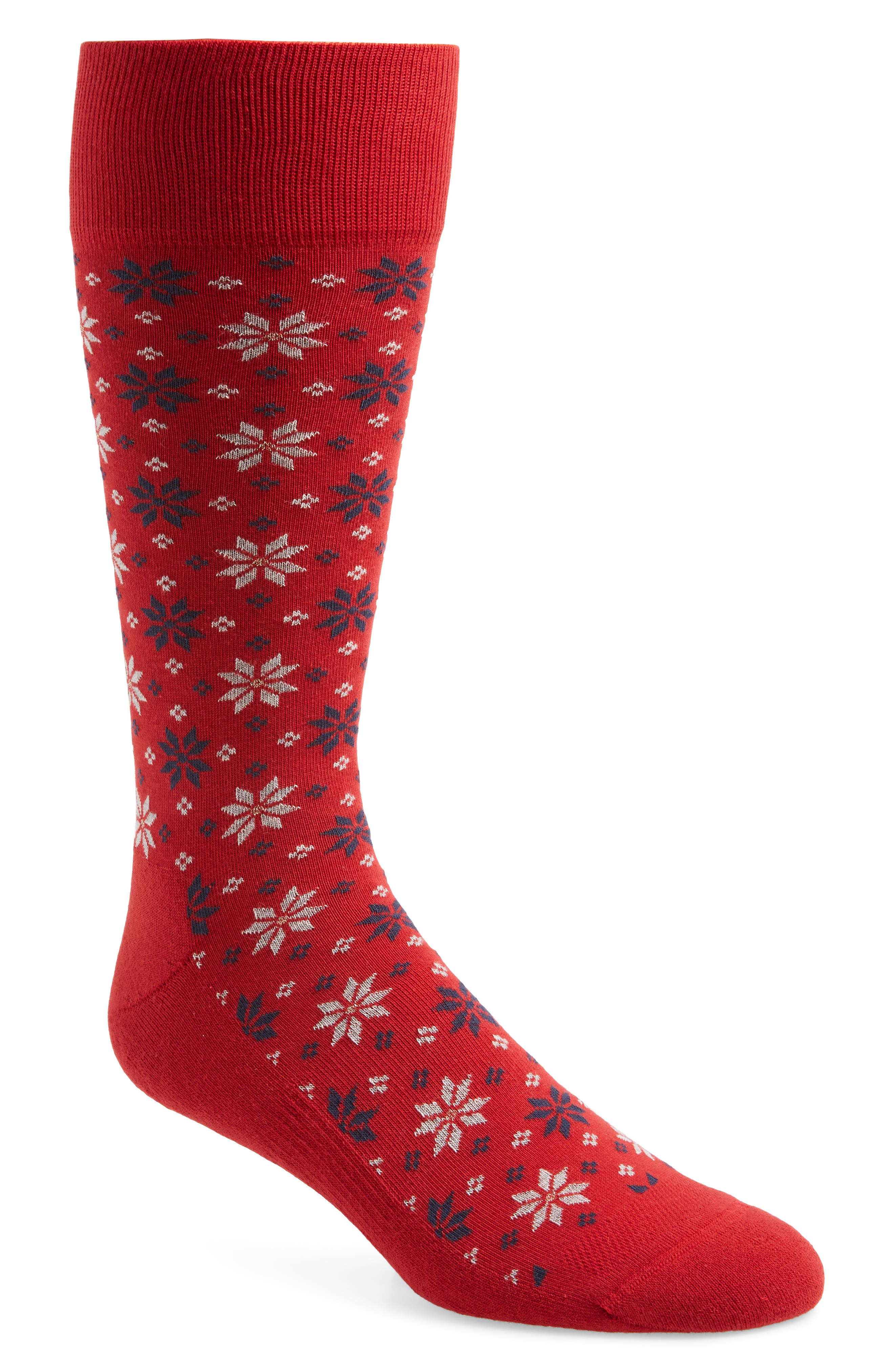 Holiday Fair Isle Socks,                         Main,                         color, RED/ NAVY