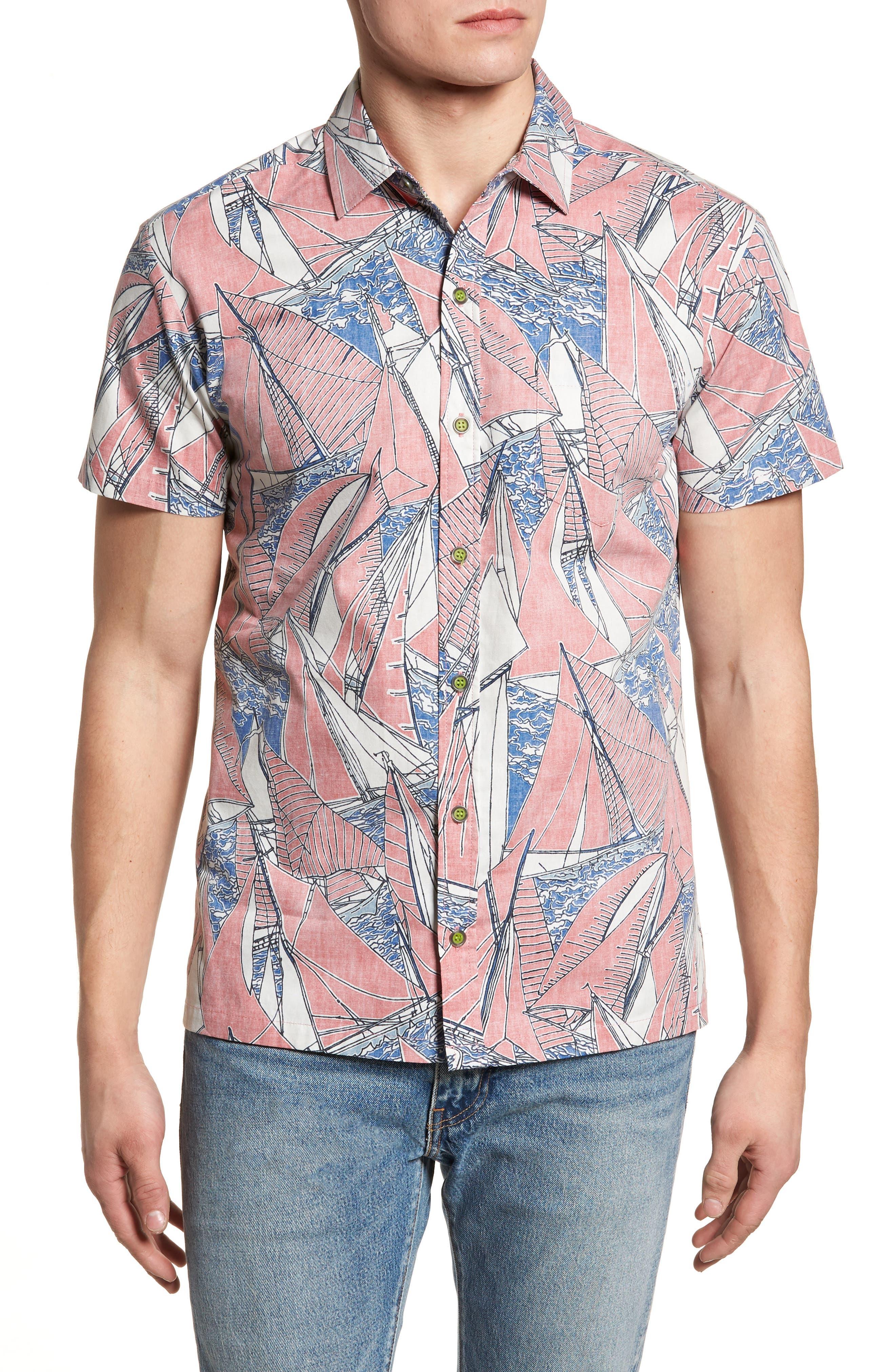 Broad Reach Trim Fit Camp Shirt,                         Main,                         color, 605
