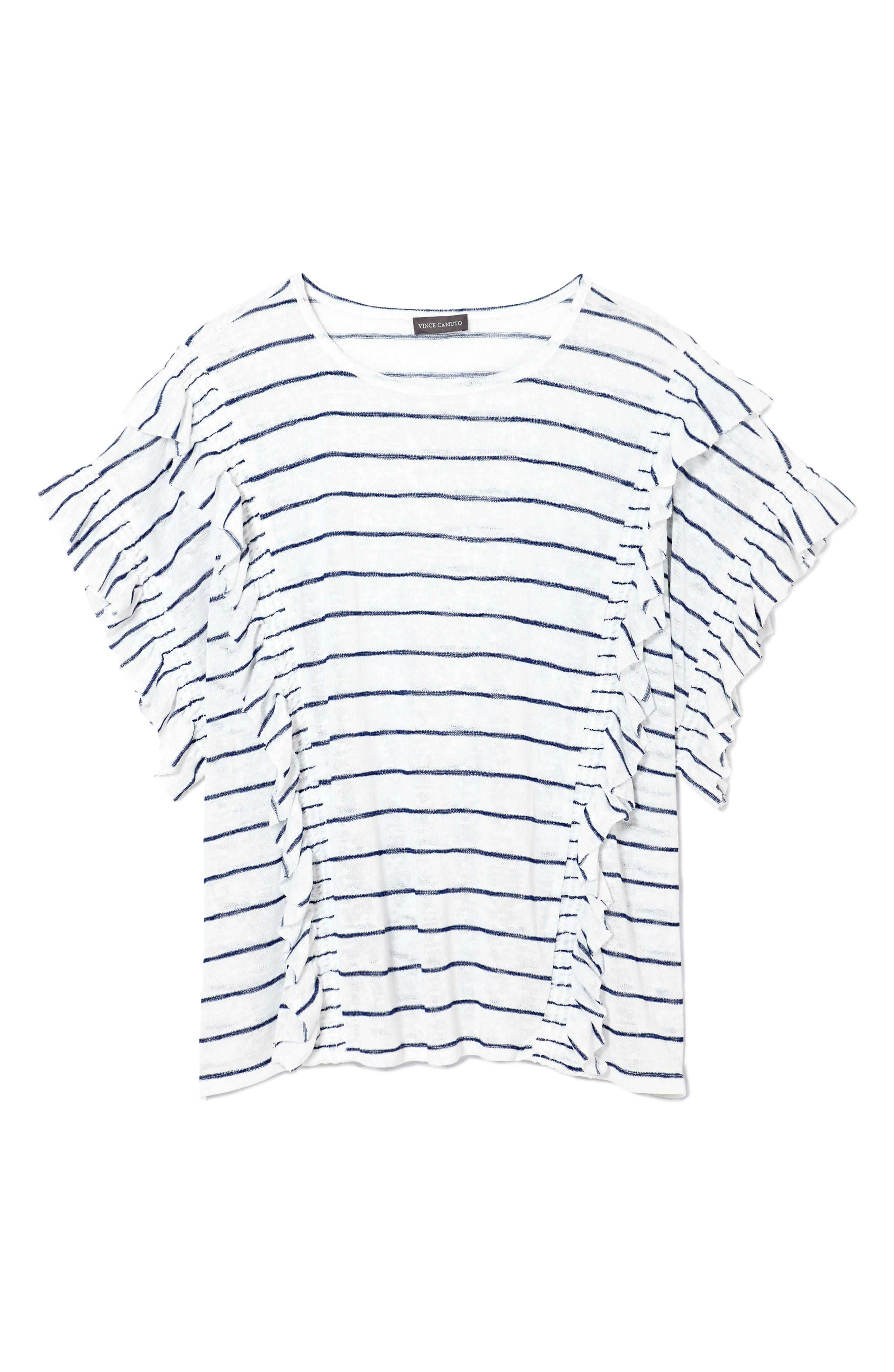 Ruffle Sleeve Stripe Top,                             Alternate thumbnail 3, color,