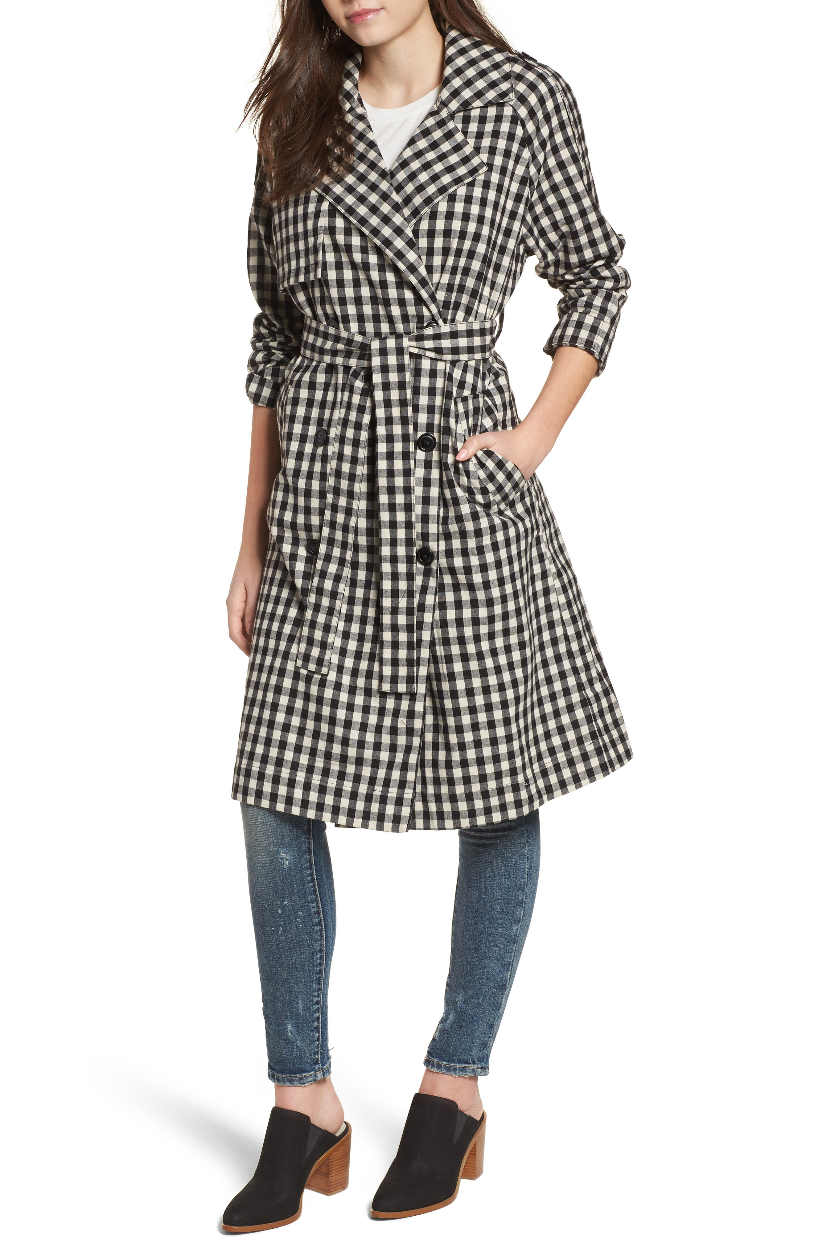 Gingham Trench Coat,                             Alternate thumbnail 4, color,                             004