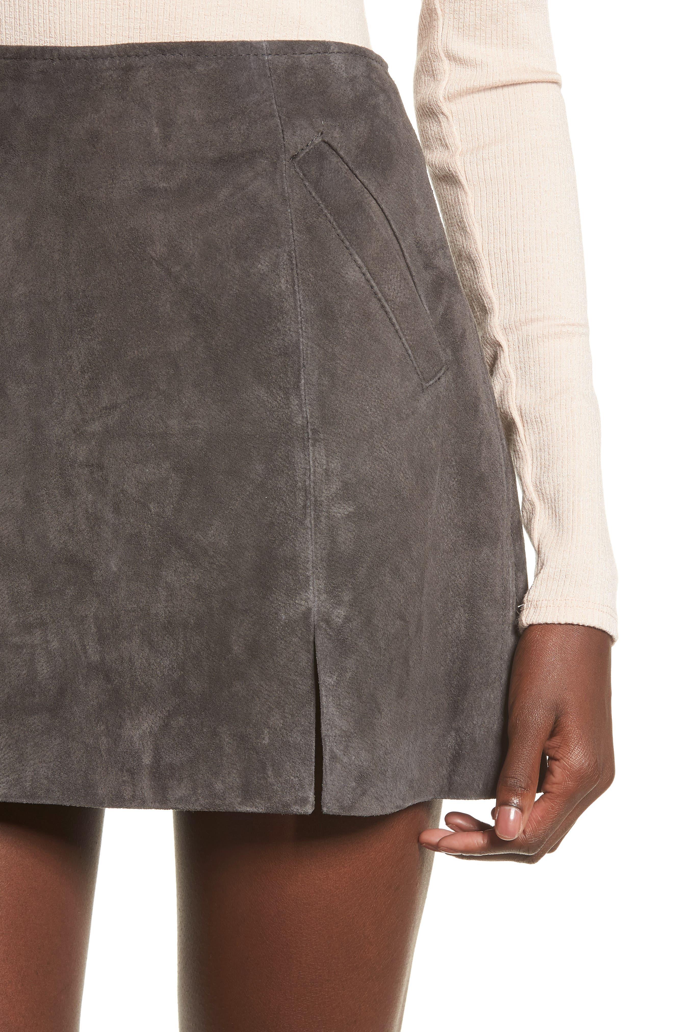 Suede Miniskirt,                             Alternate thumbnail 4, color,                             020