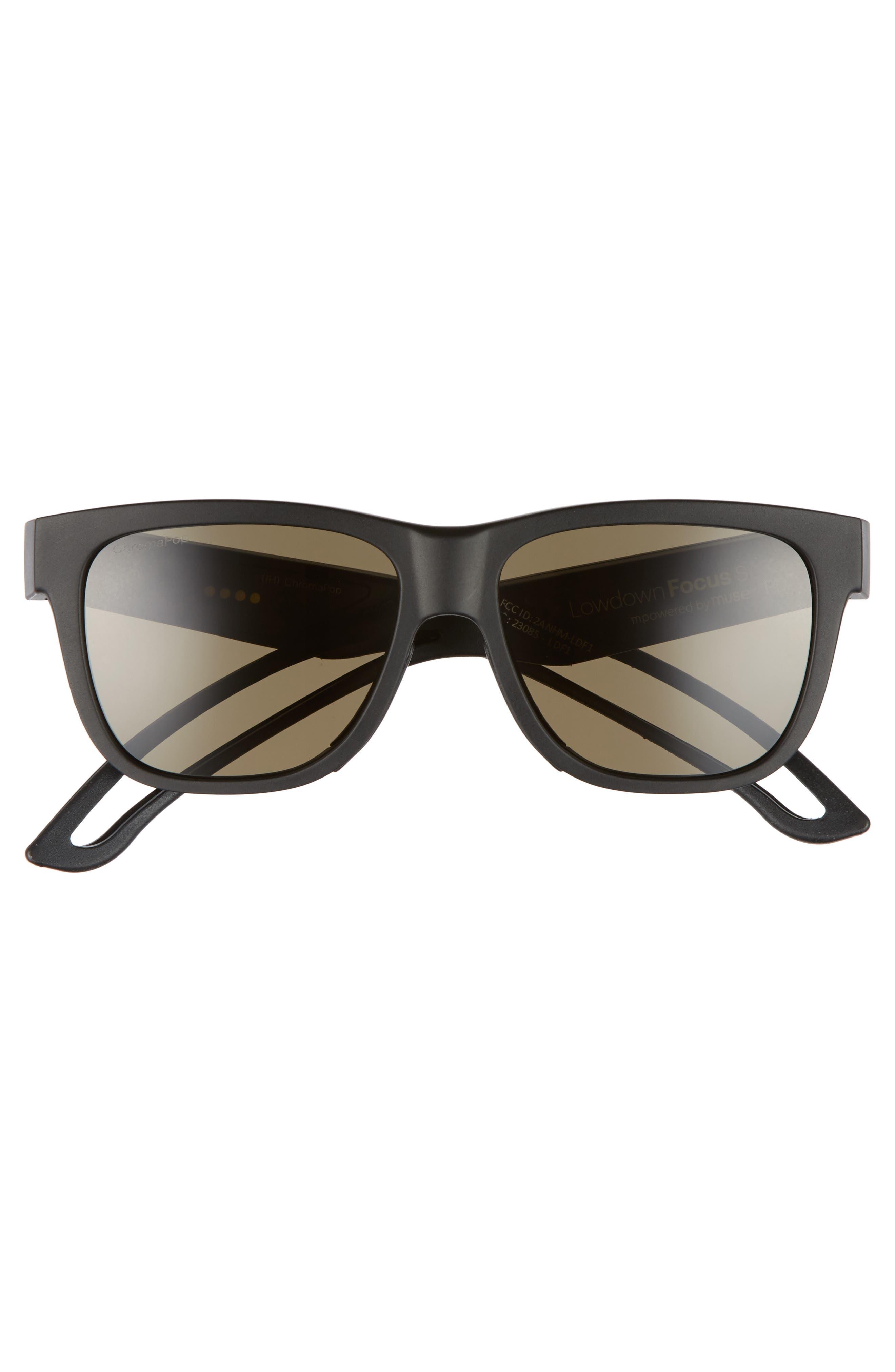 Lowdown Focus Slim 56mm ChromaPop Sunglasses,                             Alternate thumbnail 3, color,                             MATTE BLACK/ GREY GREEN