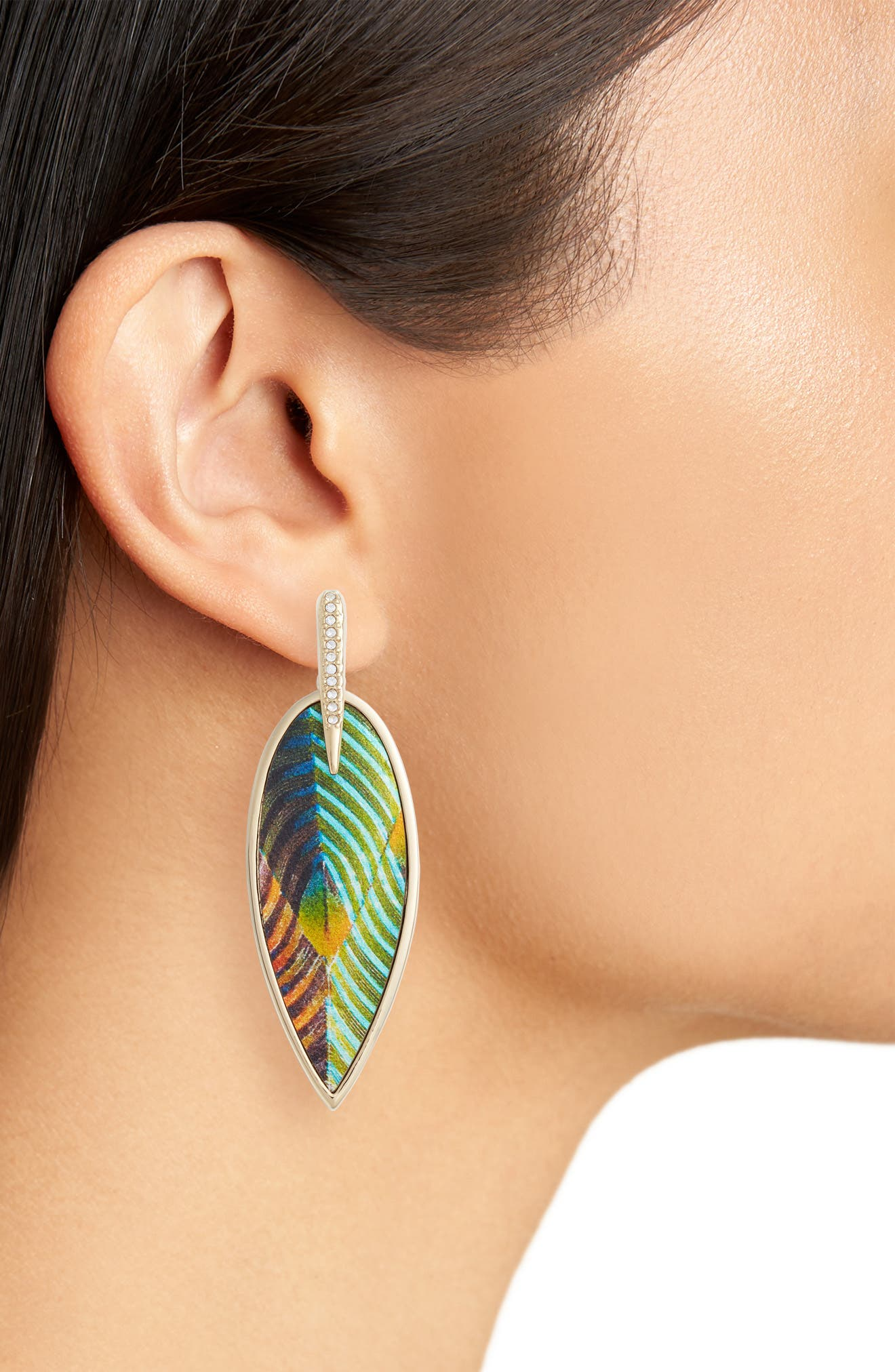 Inlaid Leather Statement Earrings,                             Alternate thumbnail 5, color,