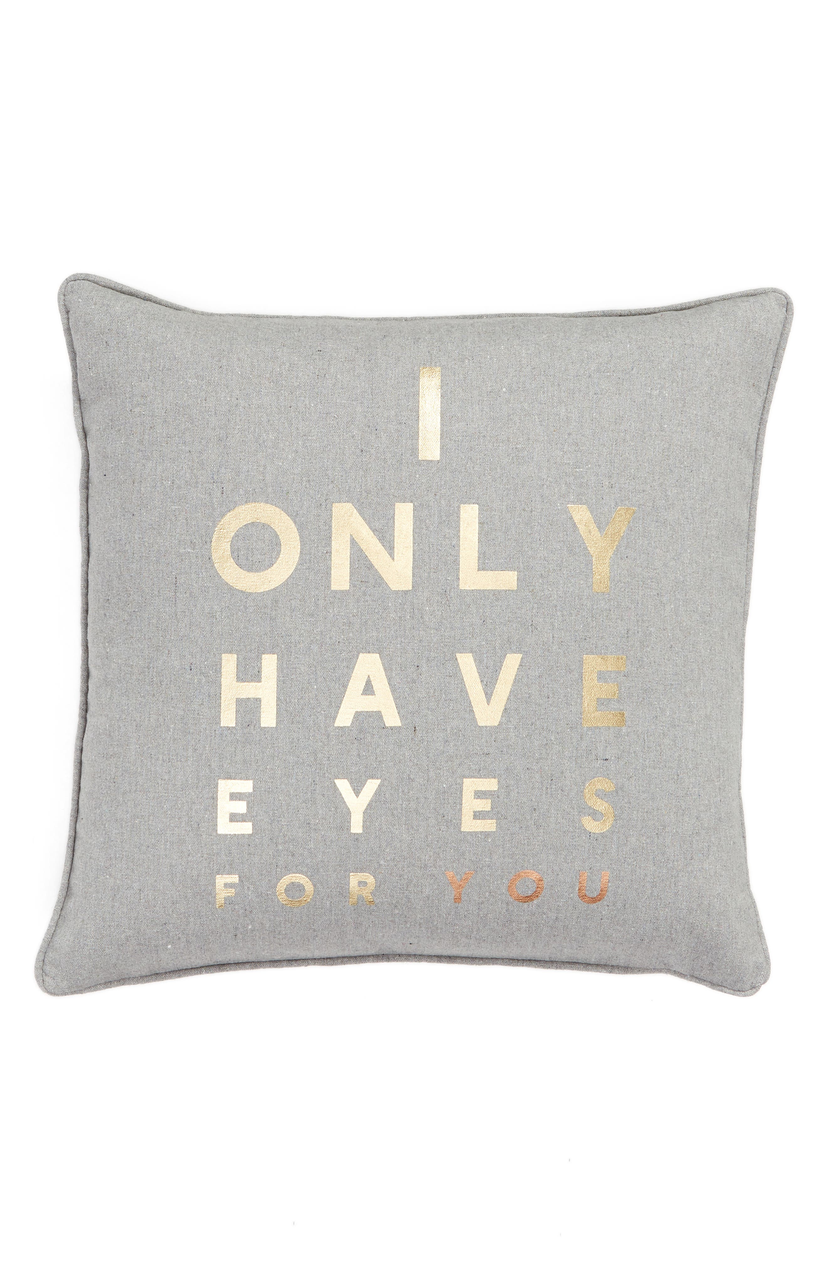 Eyes for You Accent Pillow, Main, color, GREY