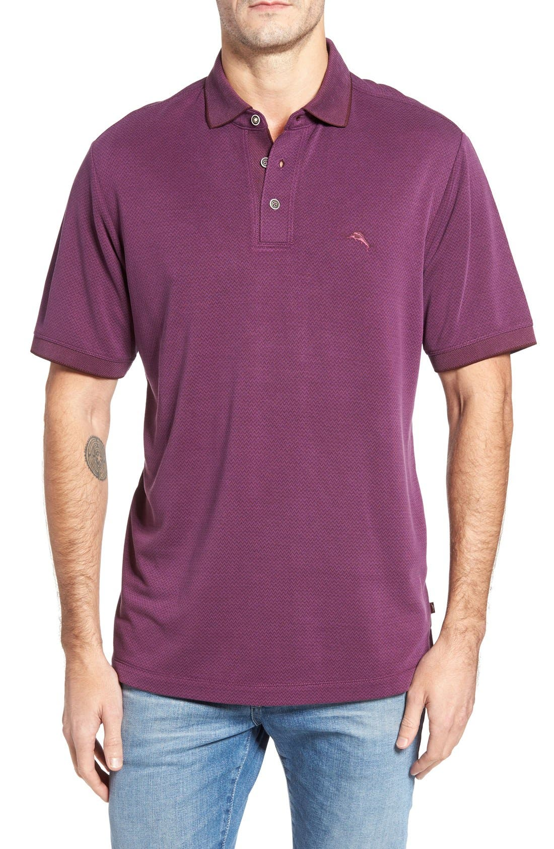 Ocean View Short Sleeve Jacquard Polo,                             Main thumbnail 8, color,