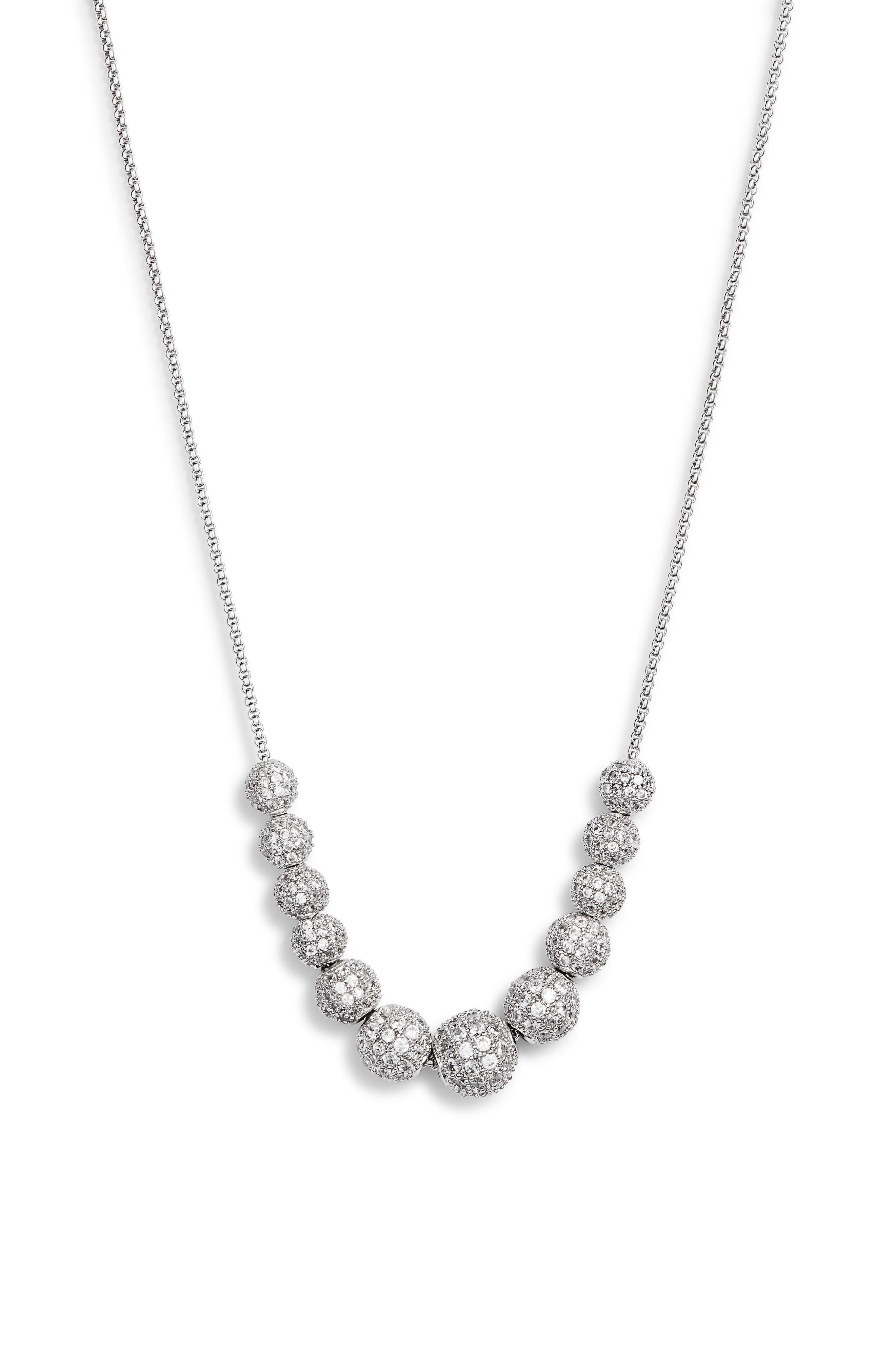 Pavé Slider Necklace,                         Main,                         color, CLEAR/ SILVER