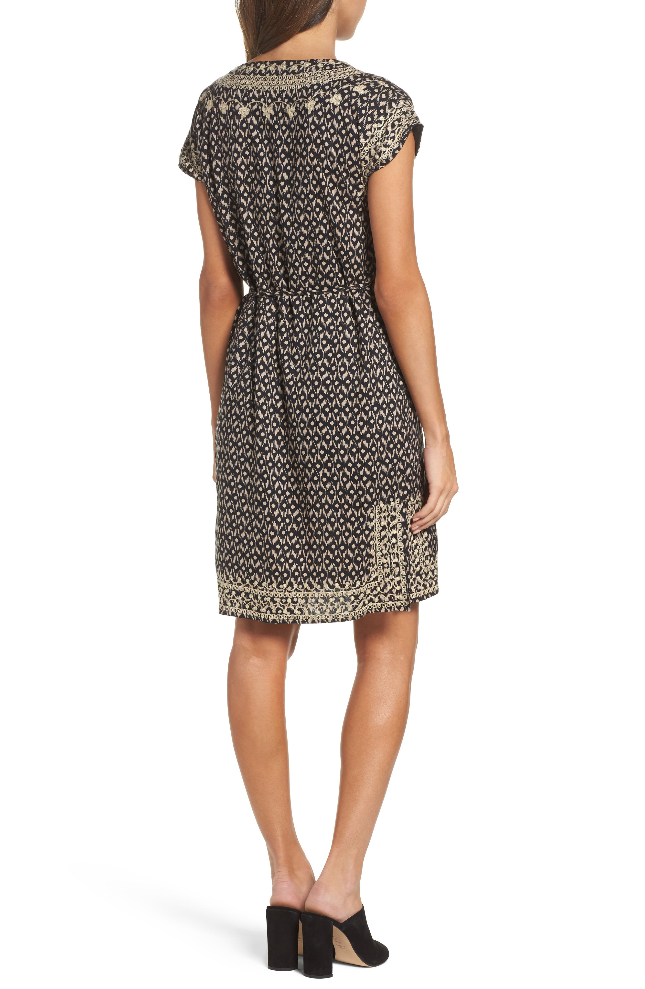 Embroidered Shift Dress,                             Alternate thumbnail 2, color,                             001