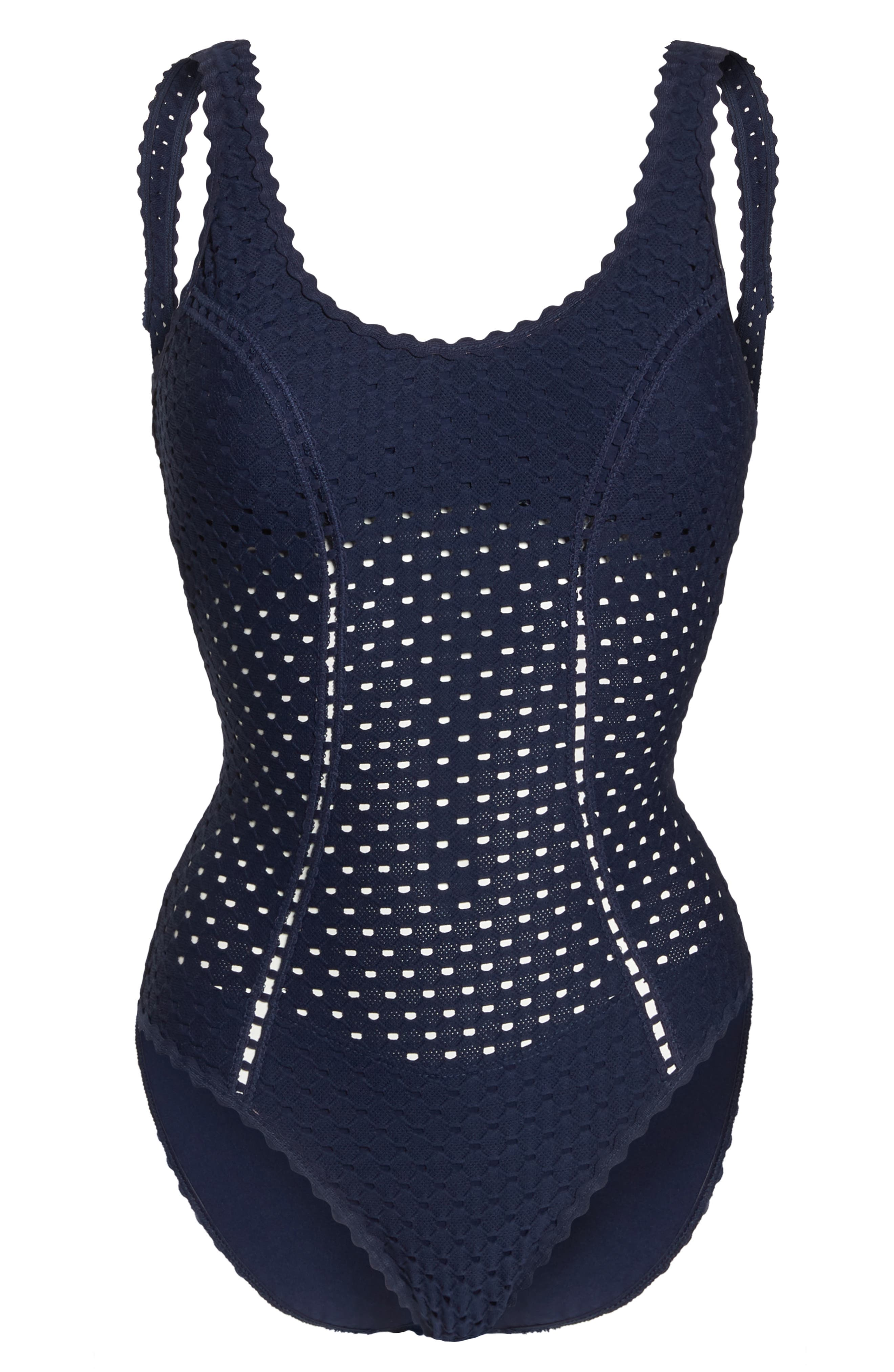 Eyelet Tank One-Piece Swimsuit,                             Alternate thumbnail 6, color,                             410