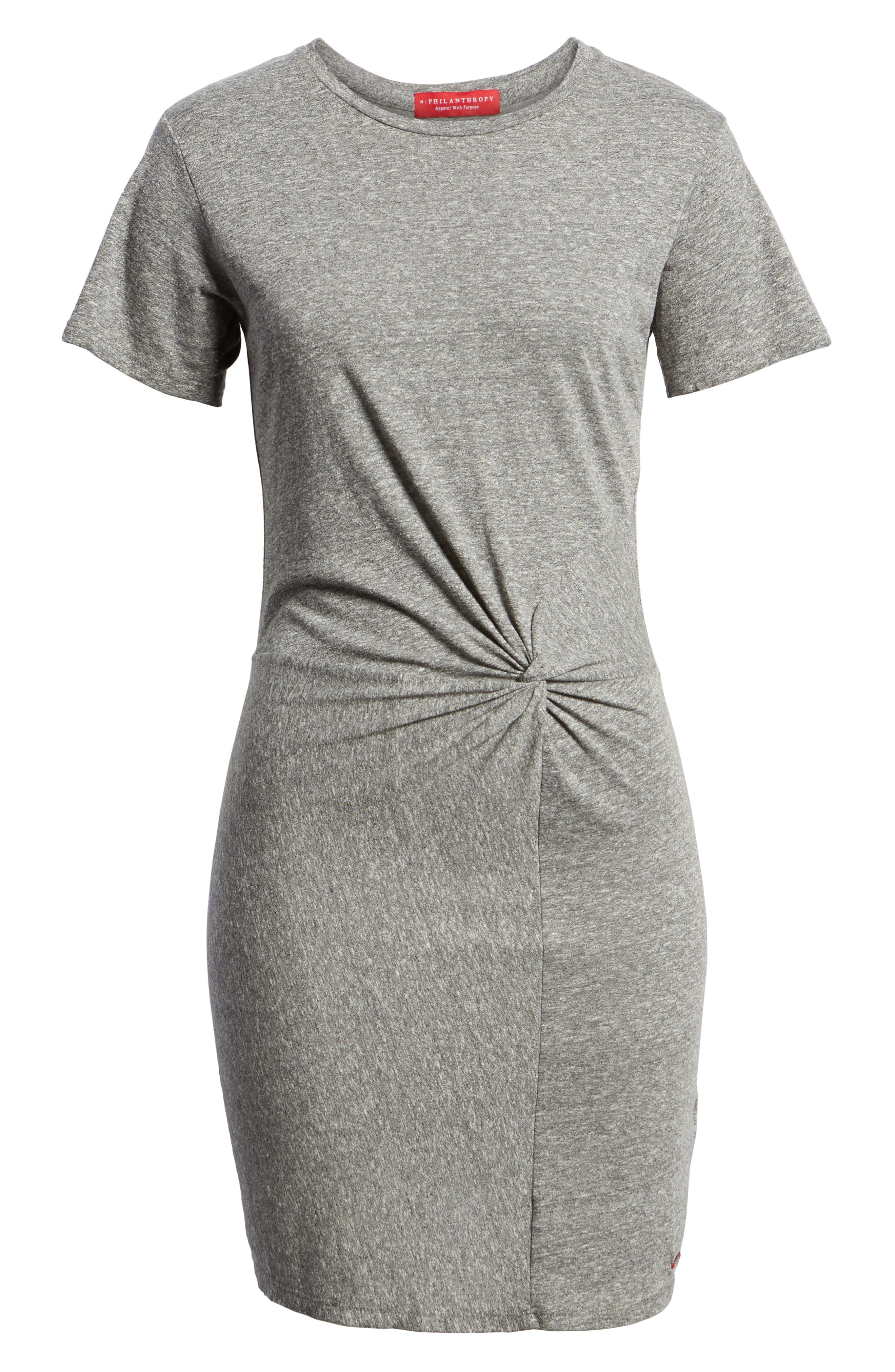 Jazz Twisted T-Shirt Dress,                             Alternate thumbnail 6, color,                             HEATHER GREY