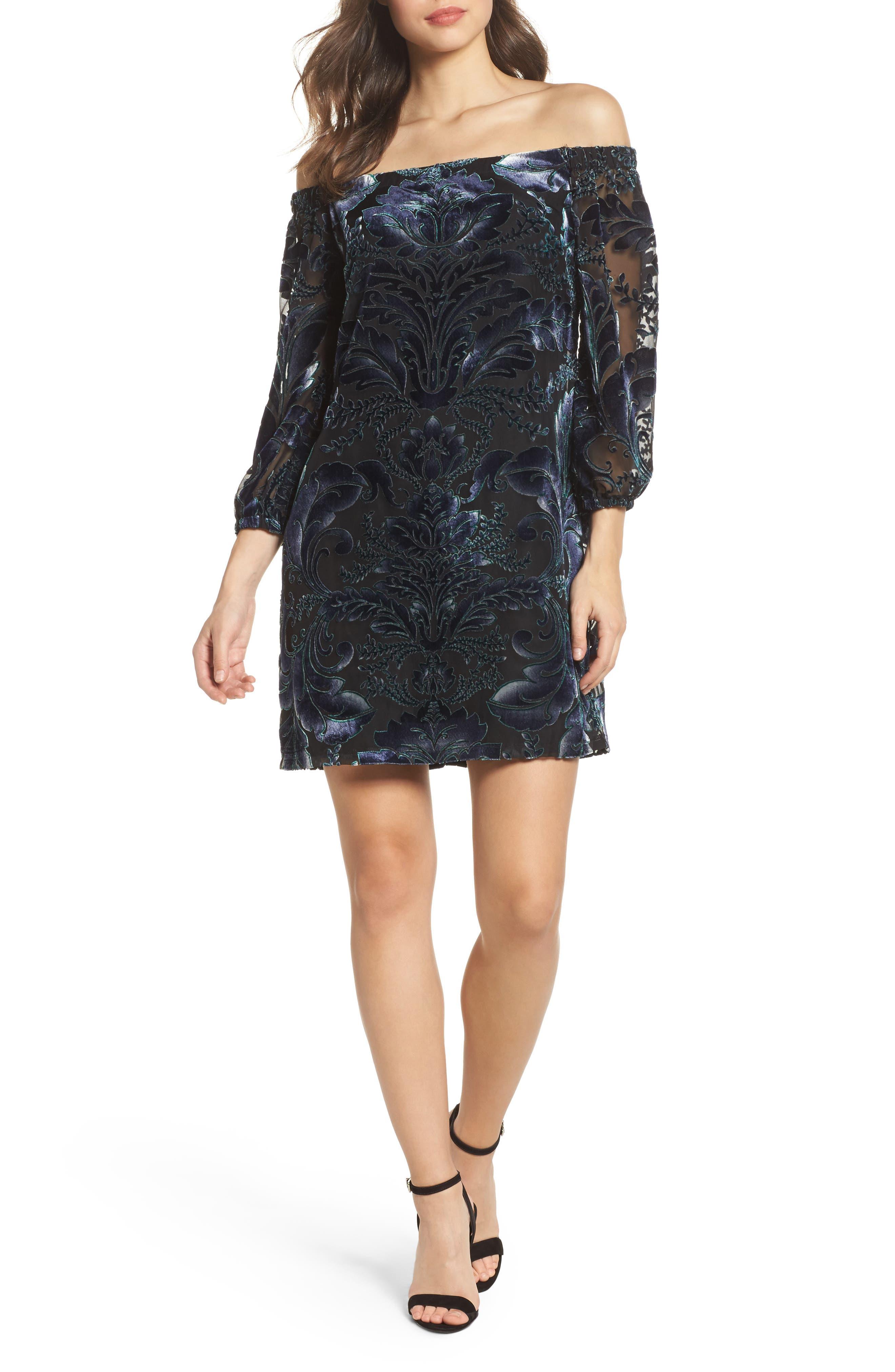 Off the Shoulder Velvet Dress,                         Main,                         color, 410