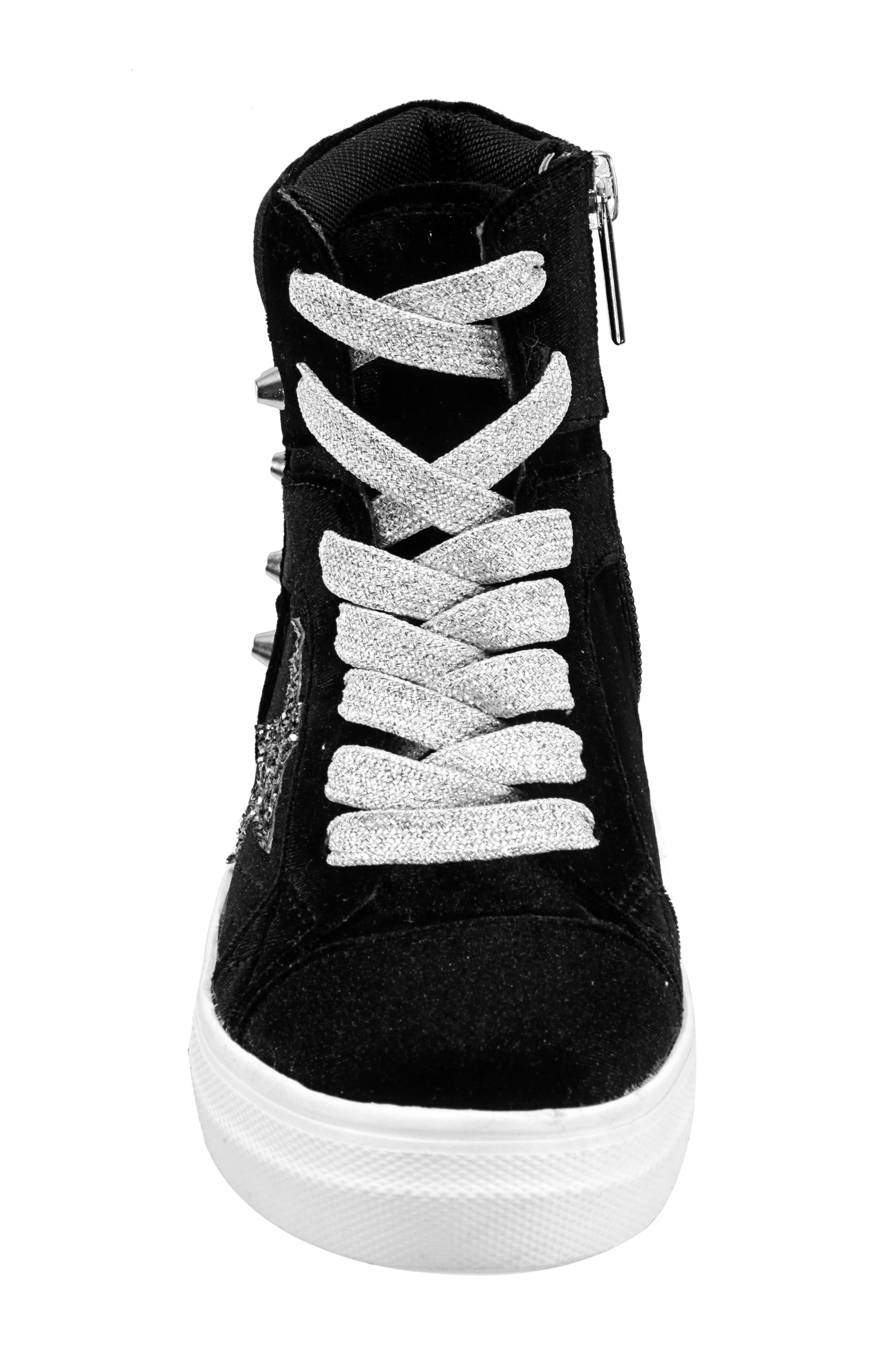 Ima Studded High Top Sneaker,                             Alternate thumbnail 4, color,                             BLACK VELVET
