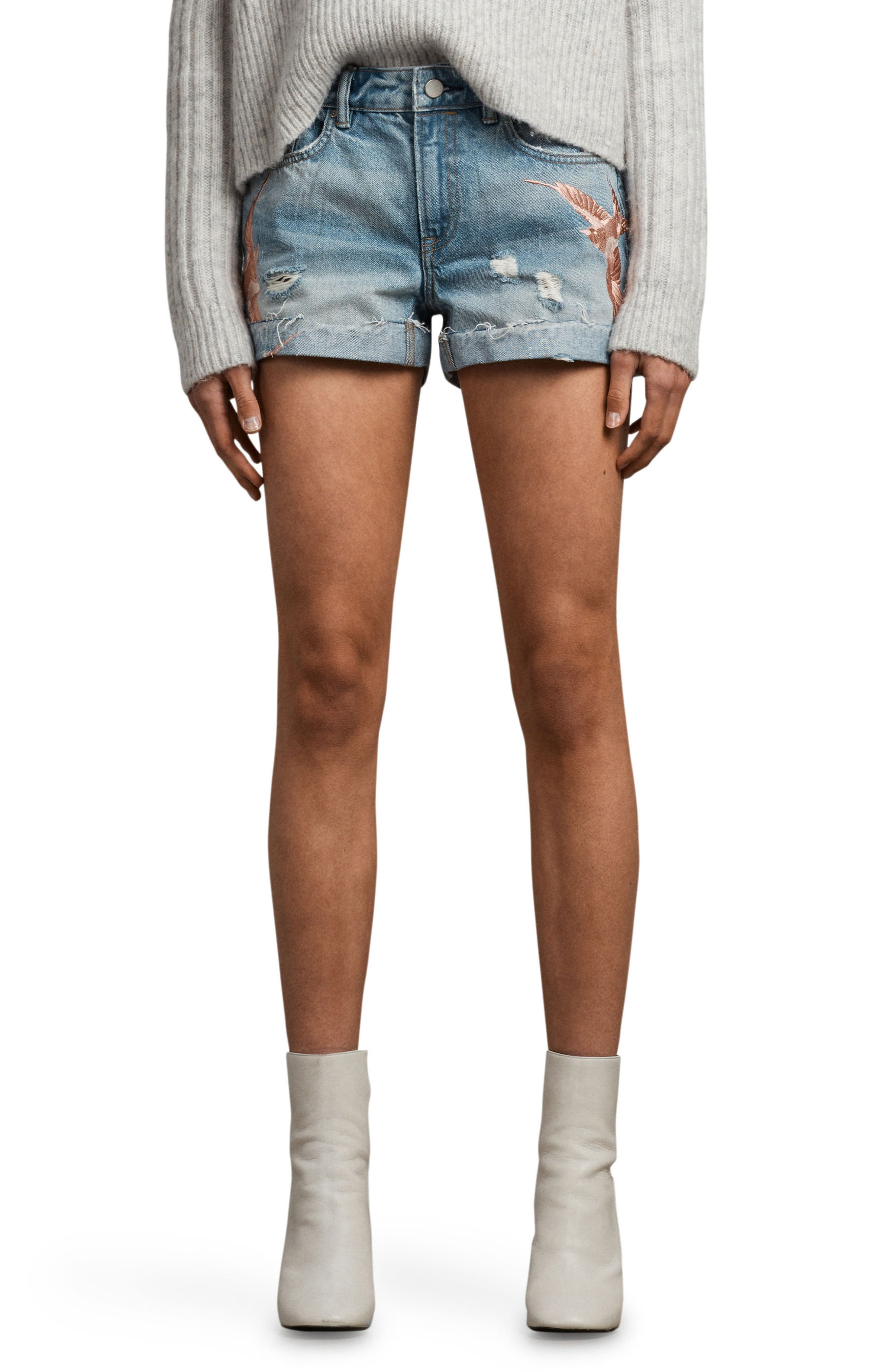 Birds Pam Embroidered Denim Shorts,                             Main thumbnail 1, color,                             460