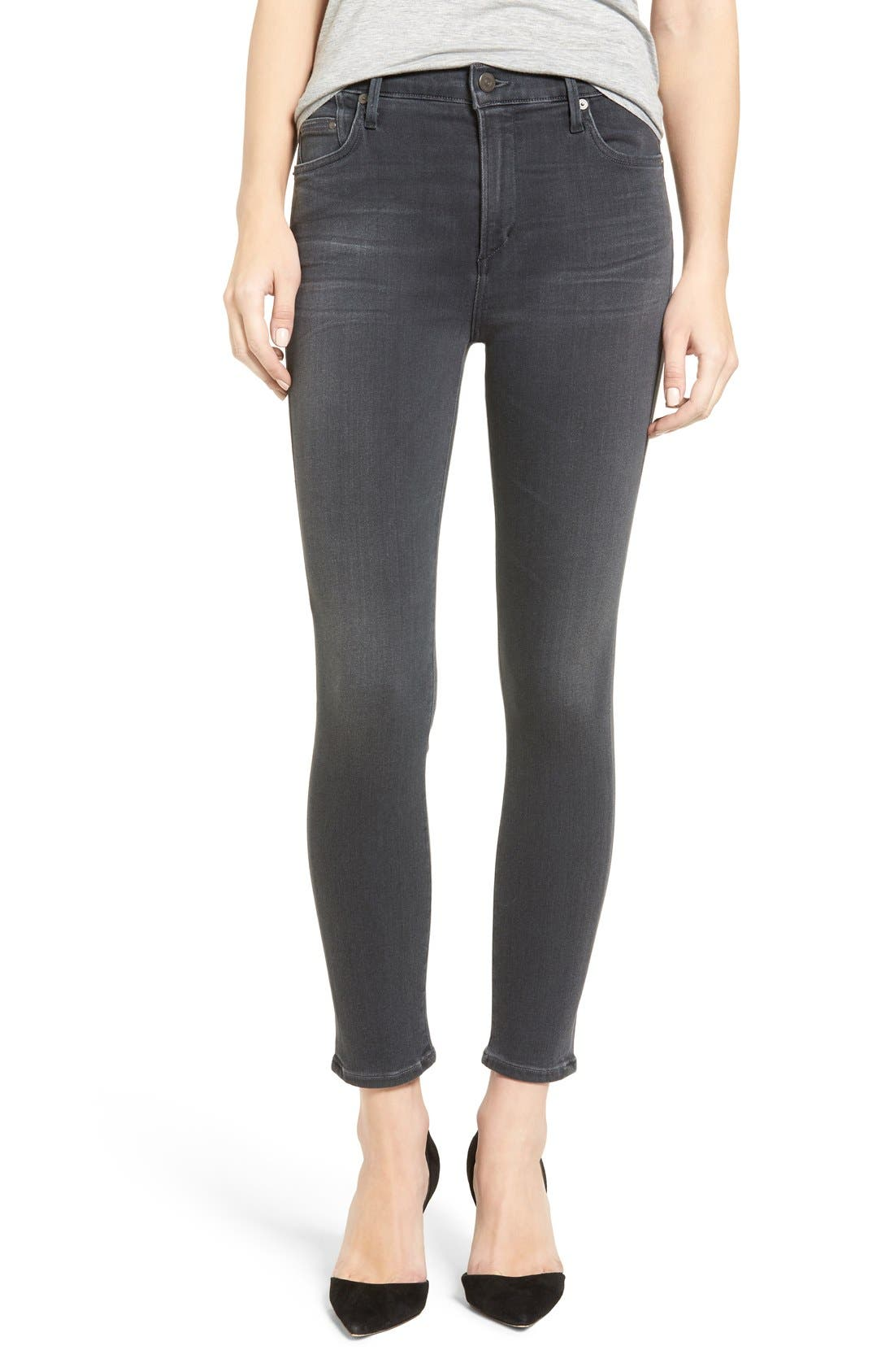 Rocket High Waist Crop Skinny Jeans,                             Alternate thumbnail 6, color,                             002