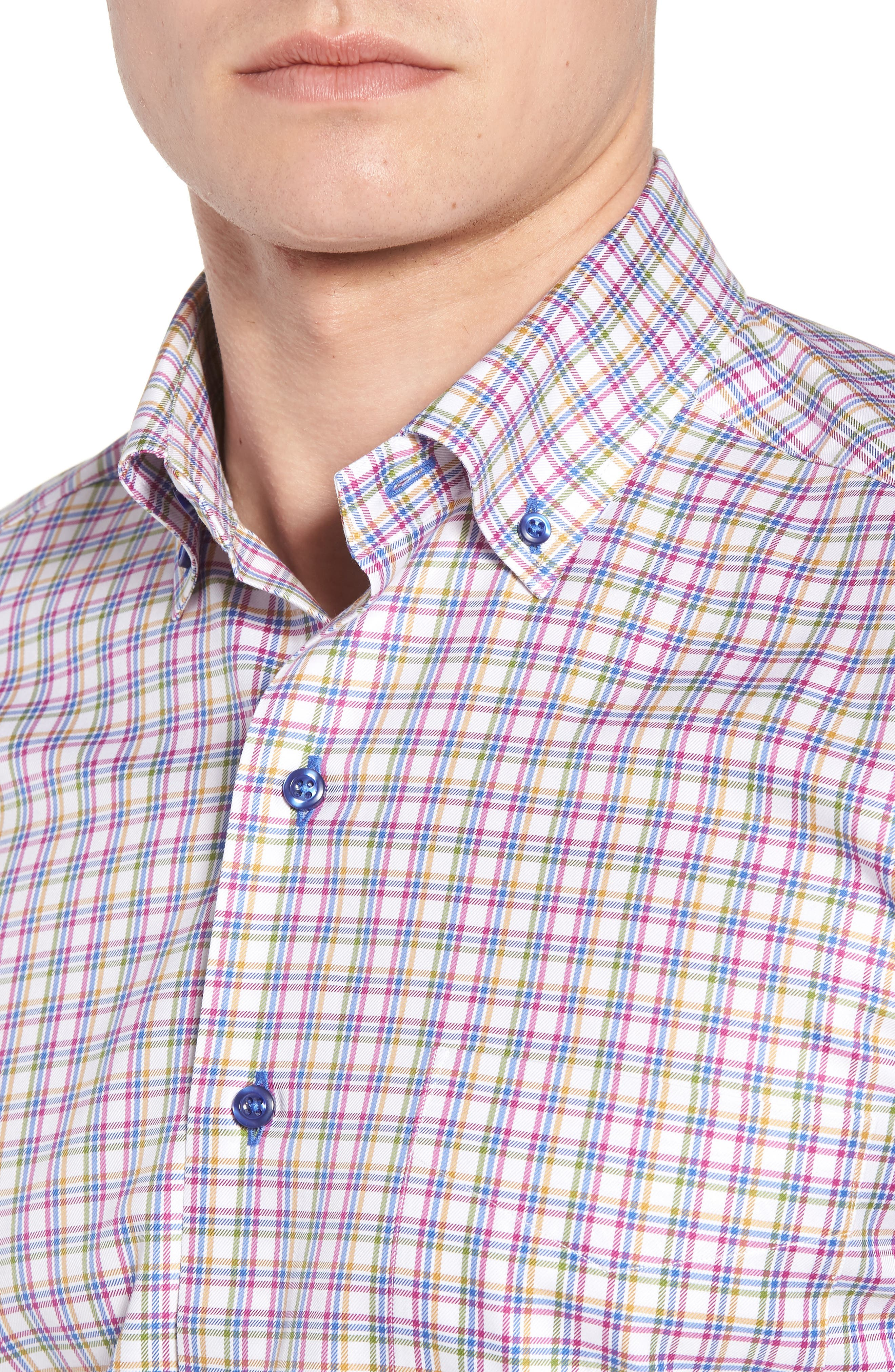 Regular Fit Plaid Sport Shirt,                             Alternate thumbnail 4, color,                             464
