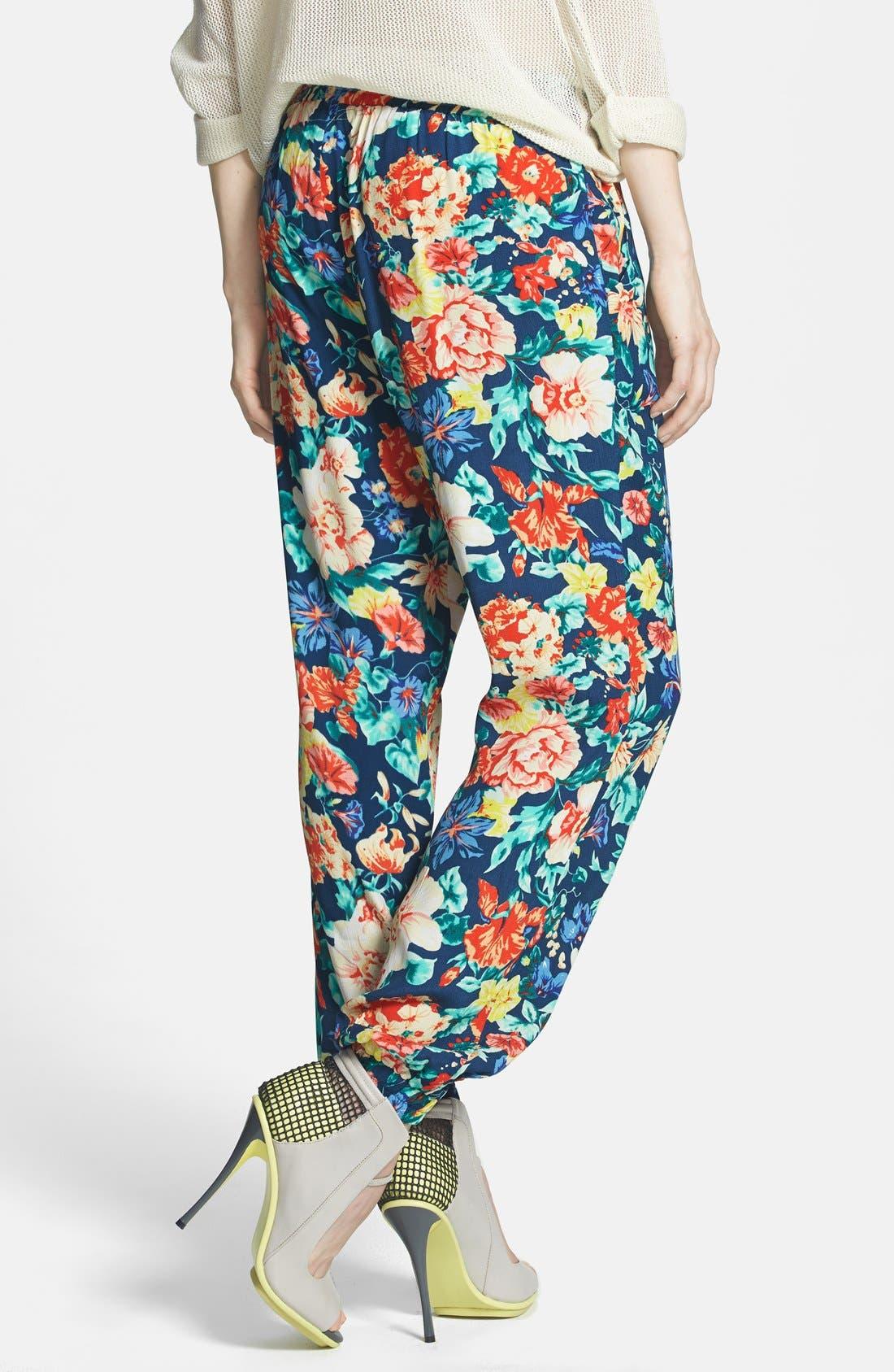 'Acid Bloom' Floral Print Jogger Pants,                             Alternate thumbnail 3, color,                             400