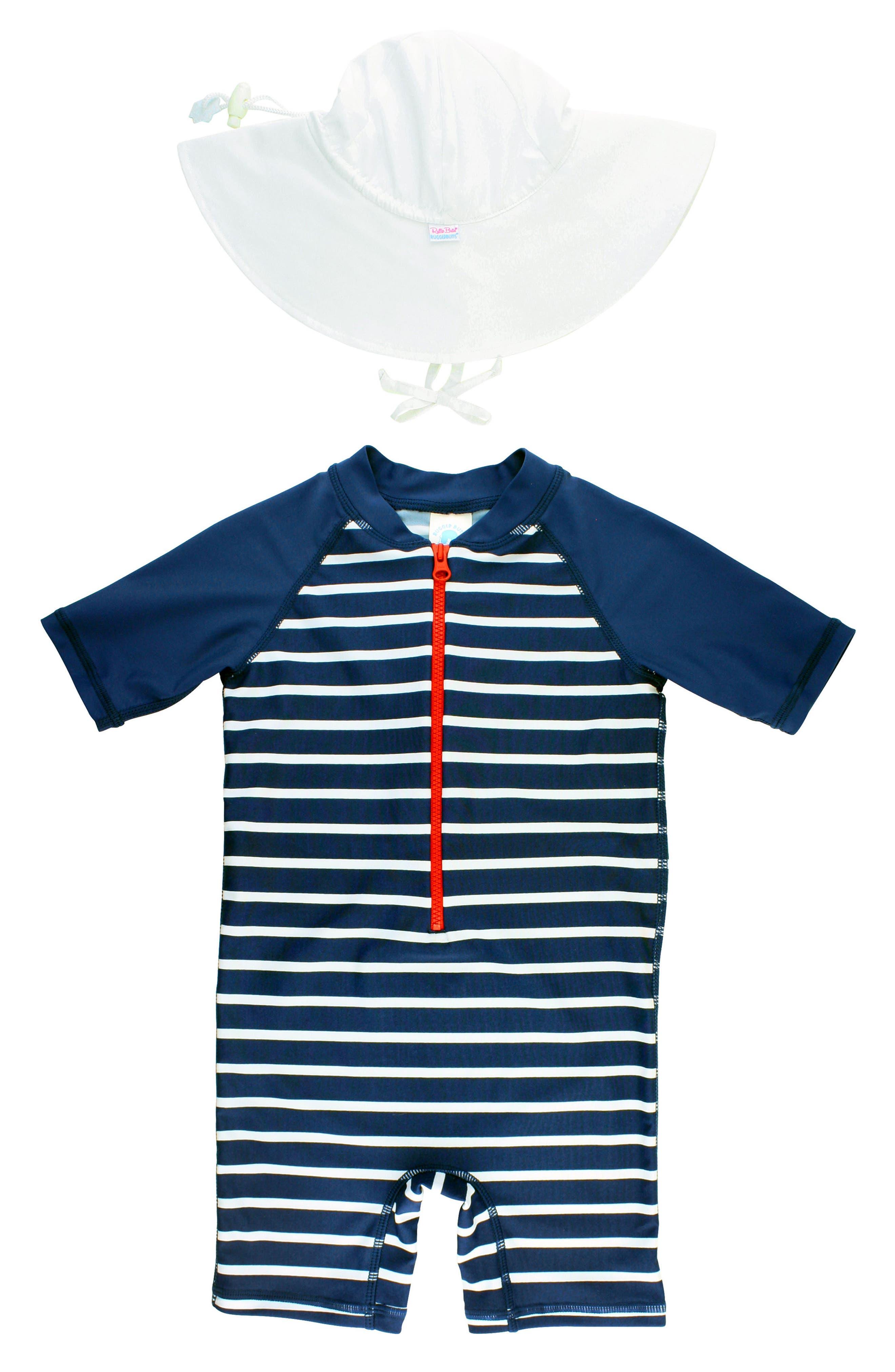 Rashguard Swimsuit & Hat Set,                             Main thumbnail 1, color,                             BLUE