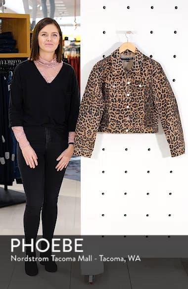Cara Leopard Print Crop Denim Jacket, sales video thumbnail