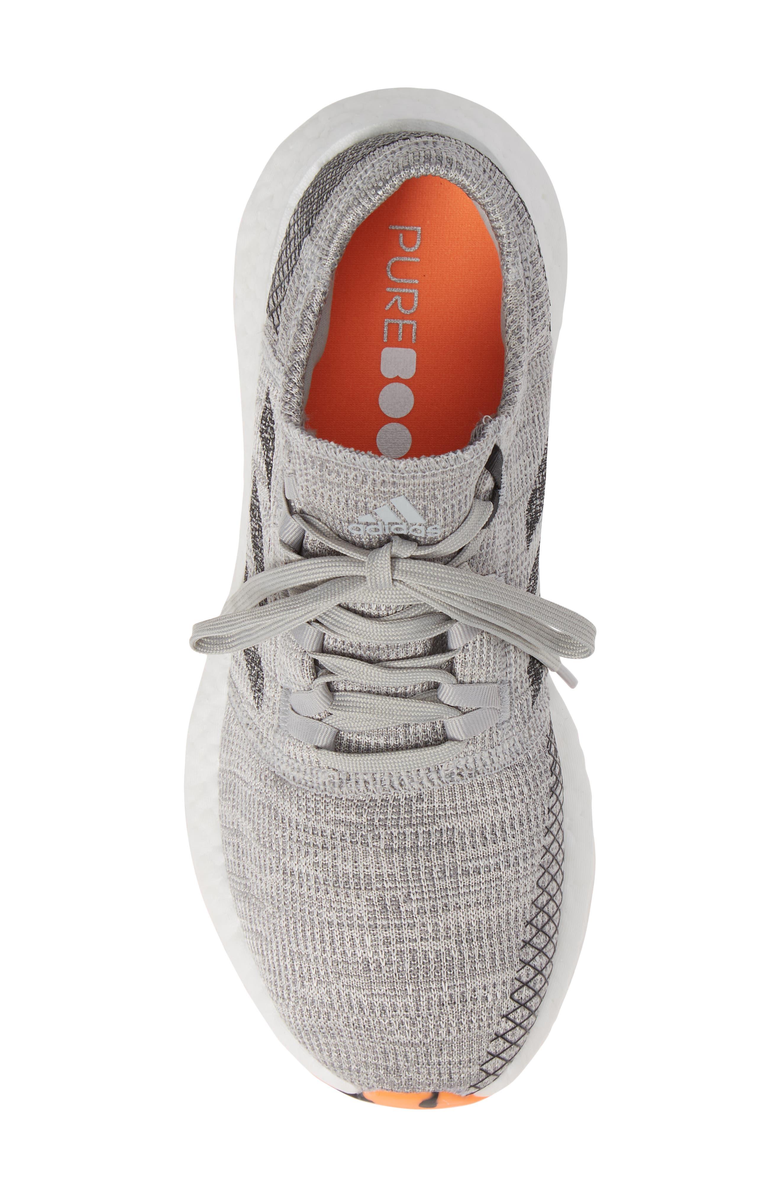 PureBoost GO Running Shoe,                             Alternate thumbnail 5, color,                             GREY/ BLACK/ ORANGE