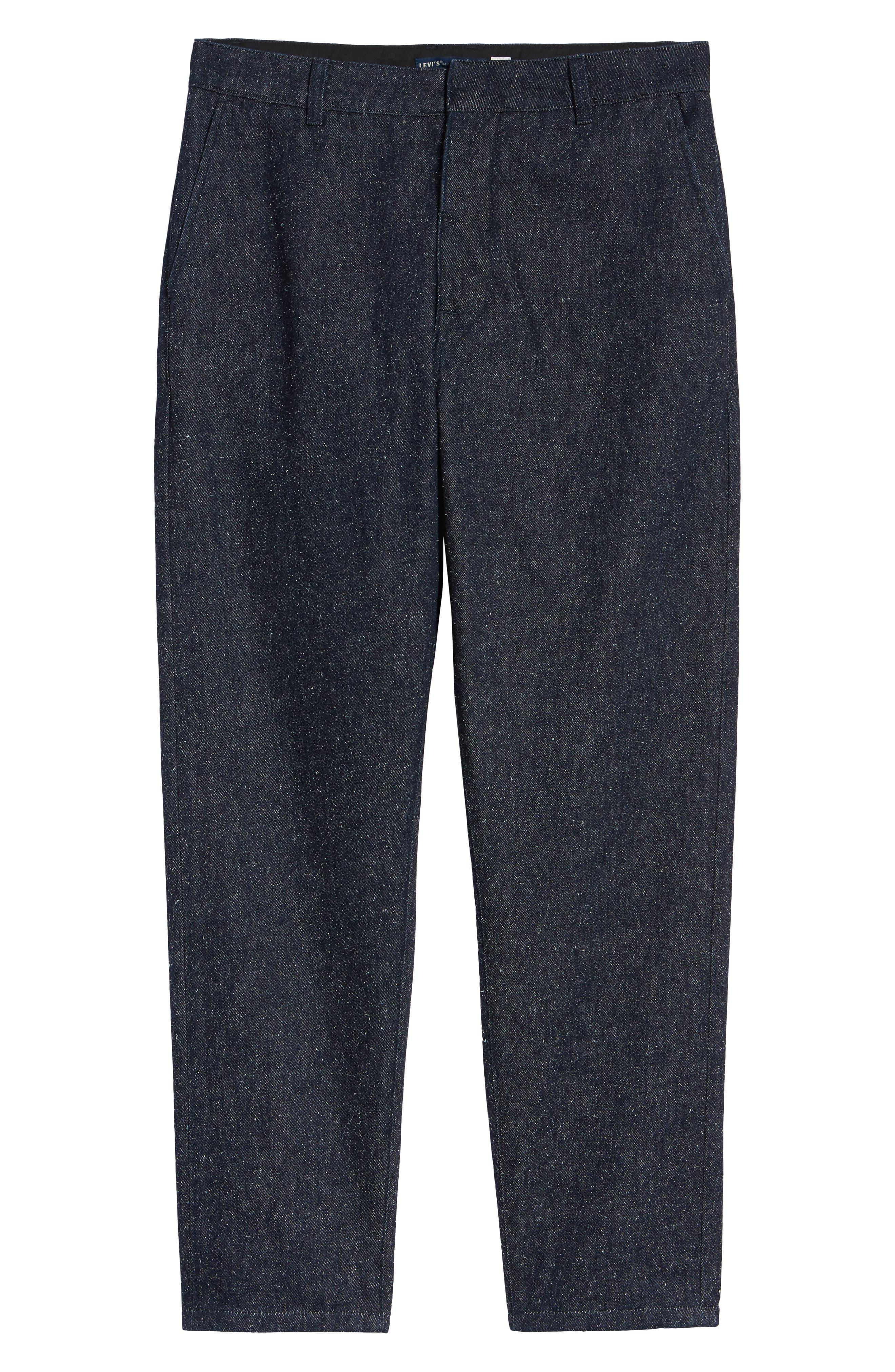 Tapered Straight Leg Cotton & Silk Trousers,                             Alternate thumbnail 6, color,                             NEPPY DENIM