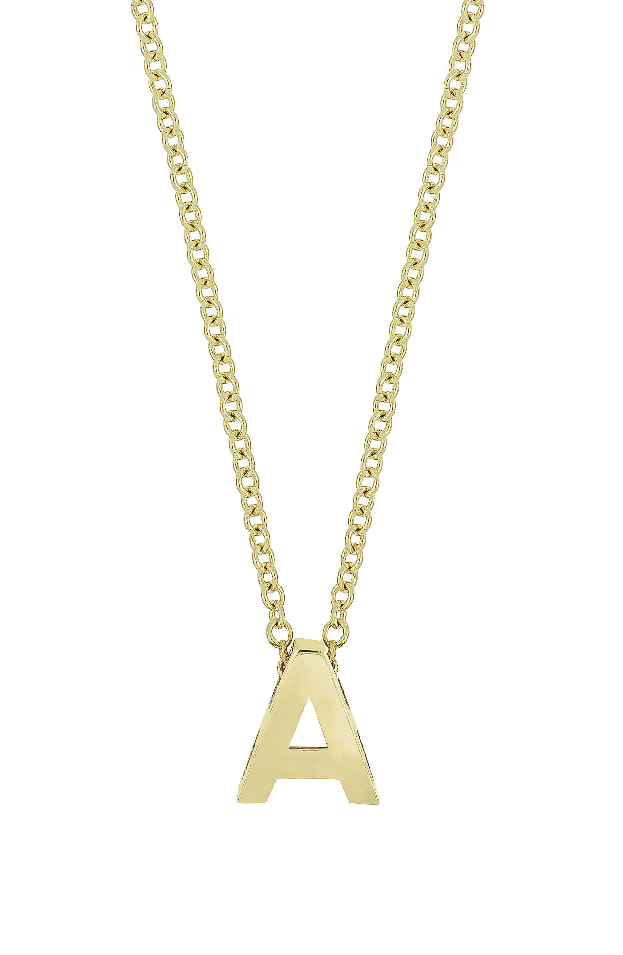 Initial Pendant Necklace,                         Main,                         color, YELLOW GOLD- A