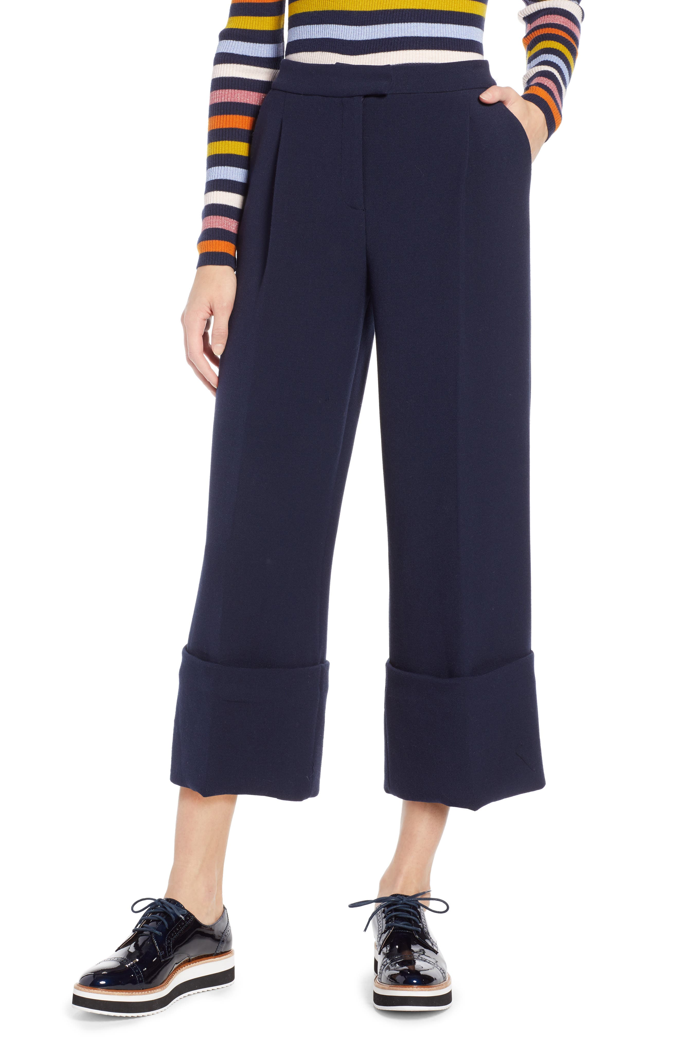 HALOGEN<SUP>®</SUP> x Atlantic-Pacific High Waist Wide Cuff Ankle Pants, Main, color, 410