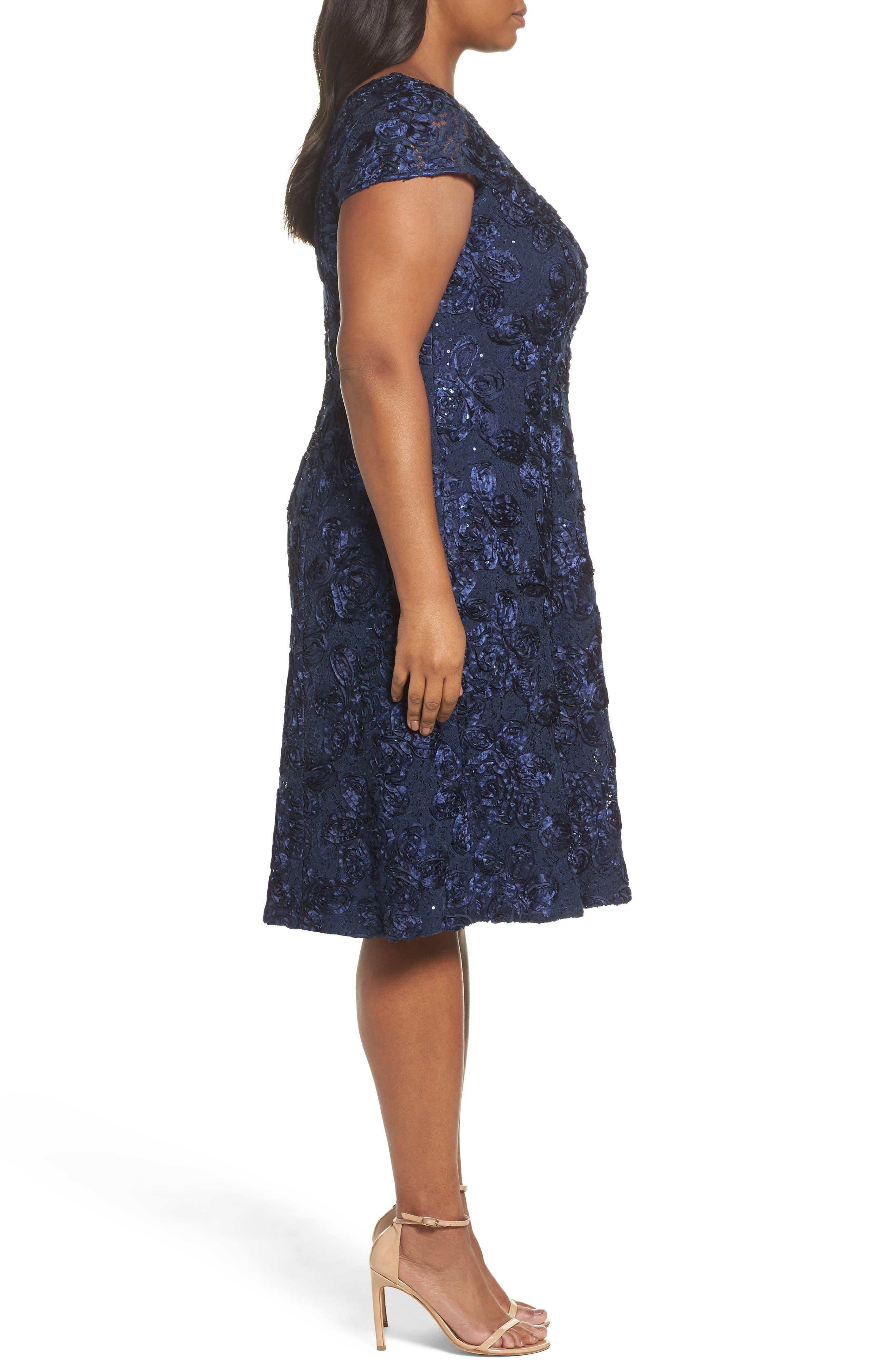 Rosette Fit & Flare Dress,                             Alternate thumbnail 3, color,                             410
