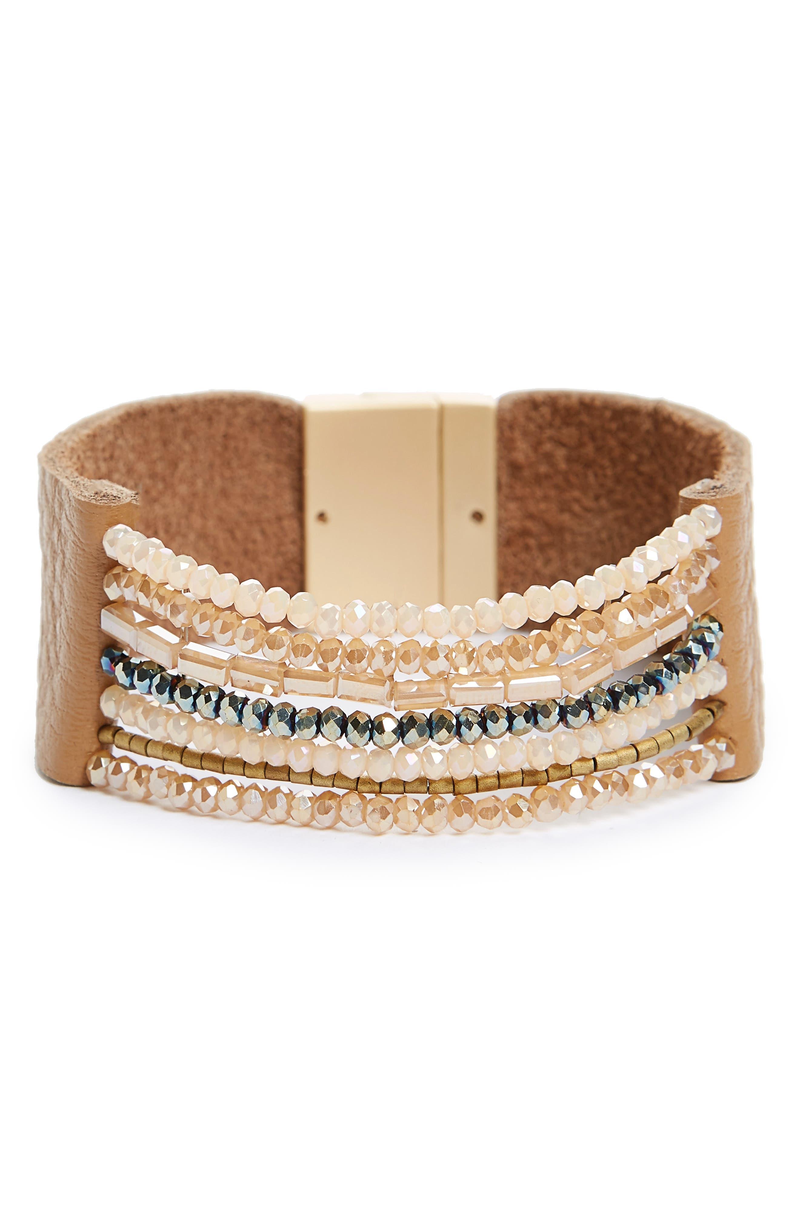 Beaded Leather Cuff Bracelet,                         Main,                         color, 200
