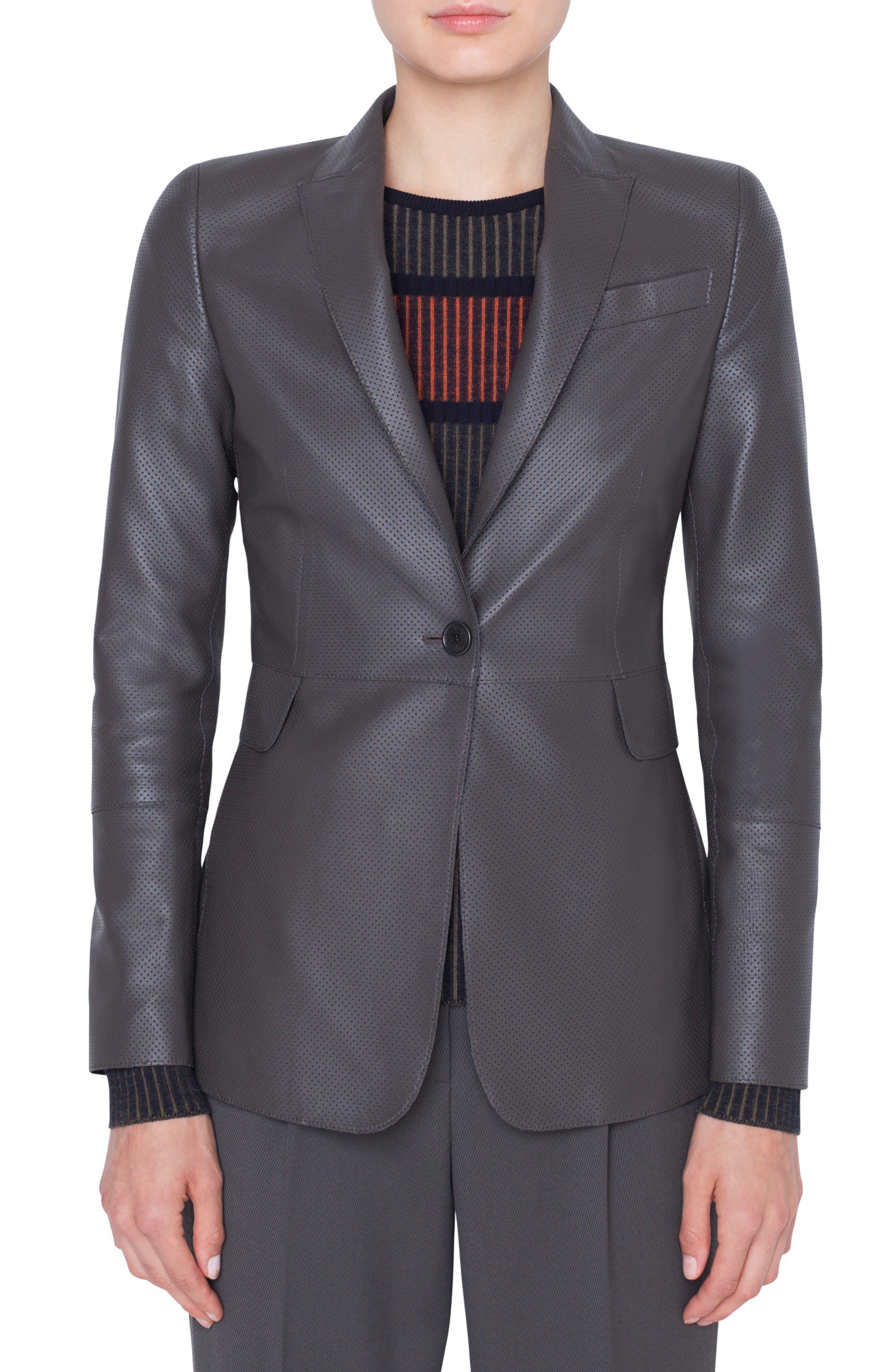 AKRIS PUNTO,                             Perforated Leather Blazer,                             Main thumbnail 1, color,                             OLIVA
