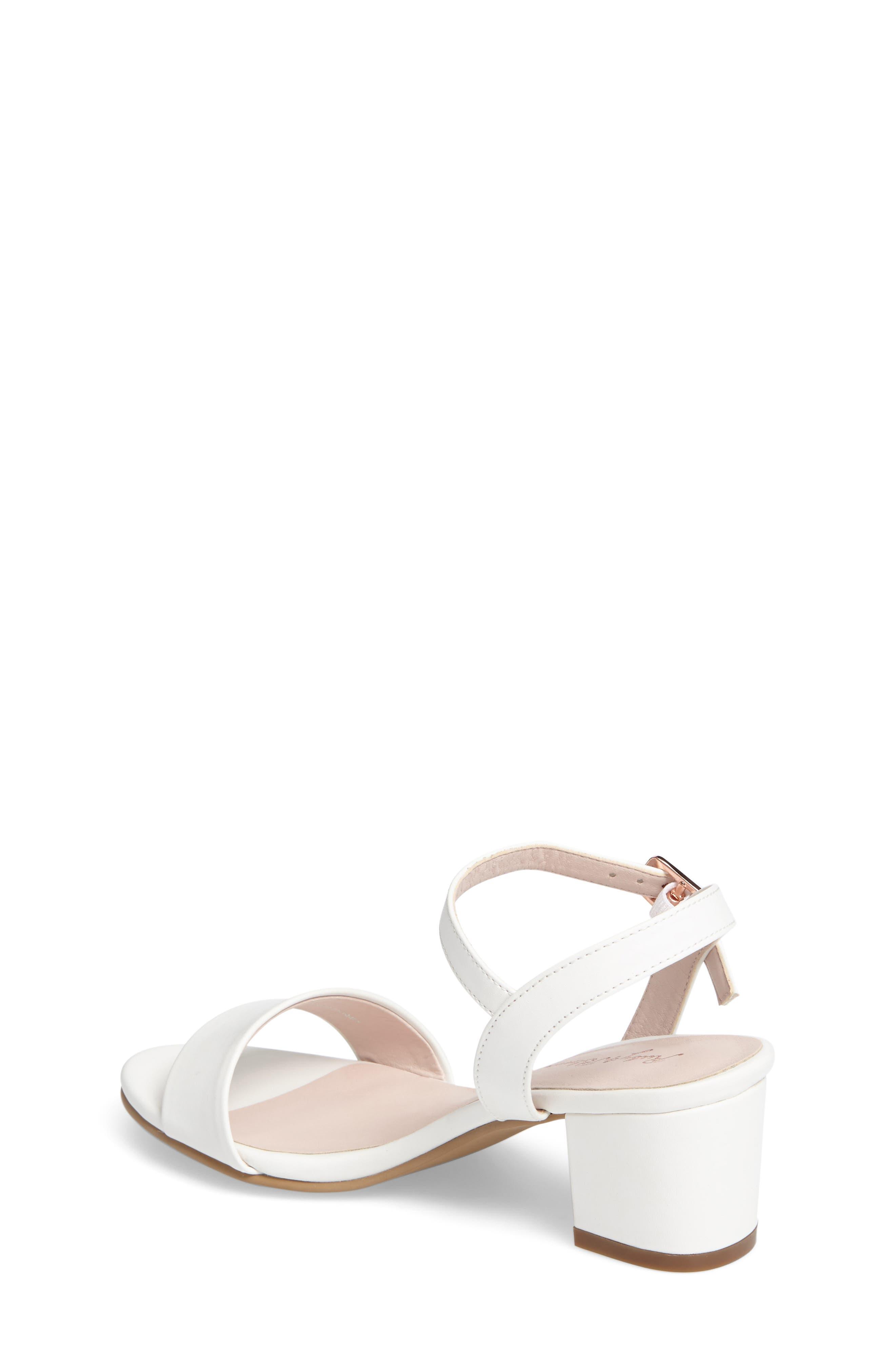 Danni Block Heel Sandal,                             Alternate thumbnail 2, color,                             WHITE FAUX LEATHER