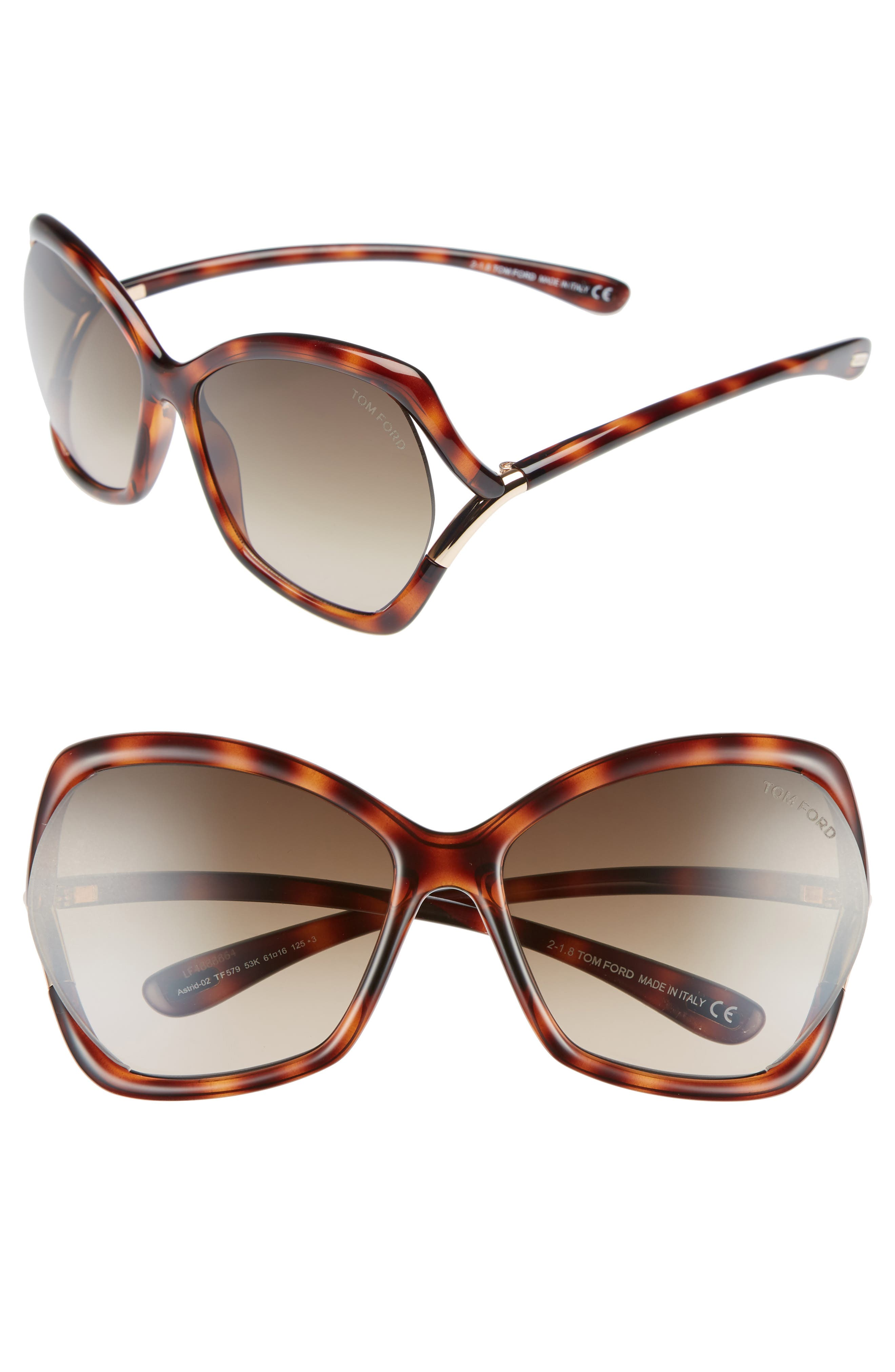 Tom Ford Astrid 61Mm Geometric Sunglasses - Havana/ Rose Gold/ Roviex