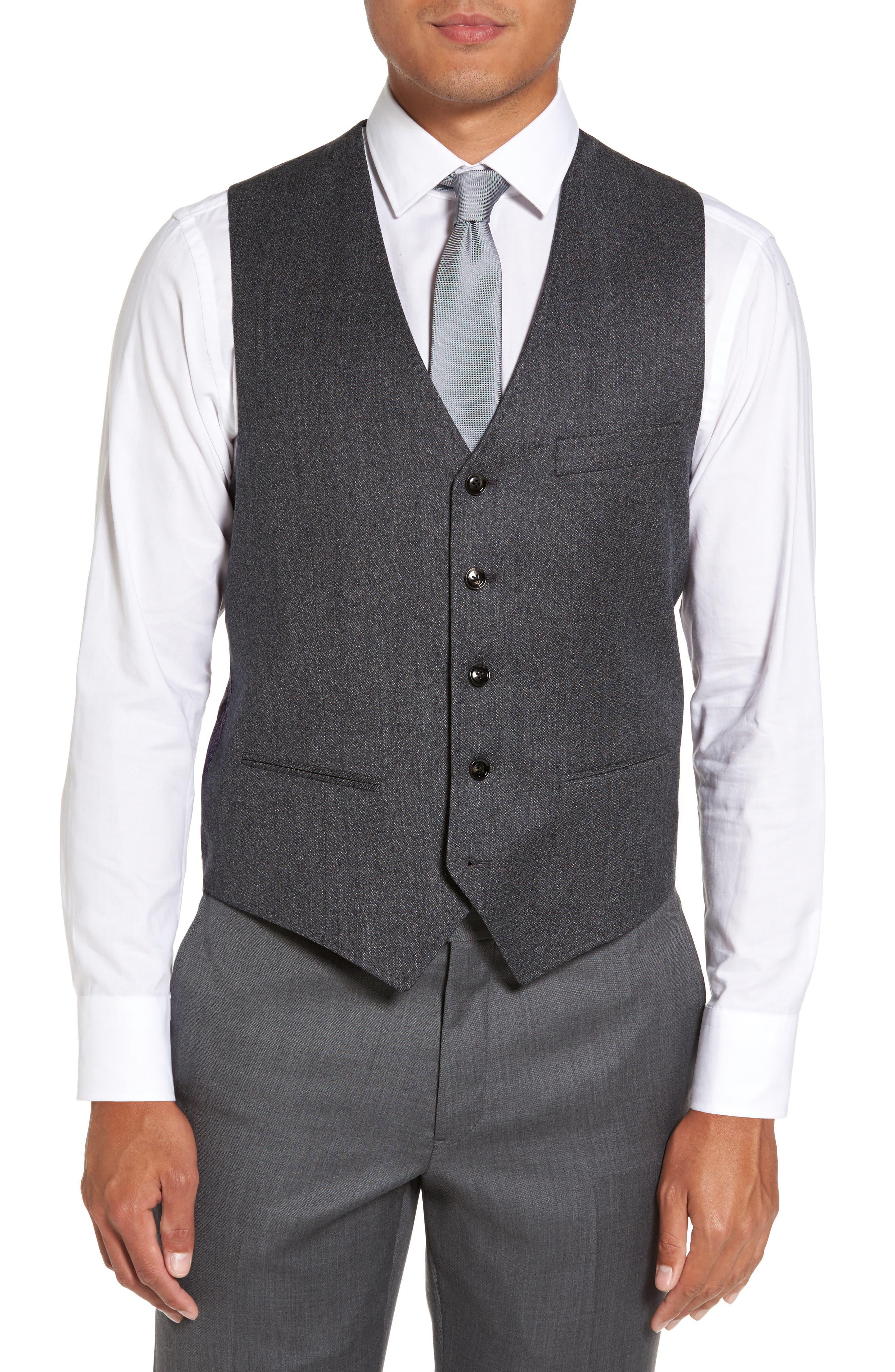 Troy Trim Fit Solid Wool Vest,                         Main,                         color, 050