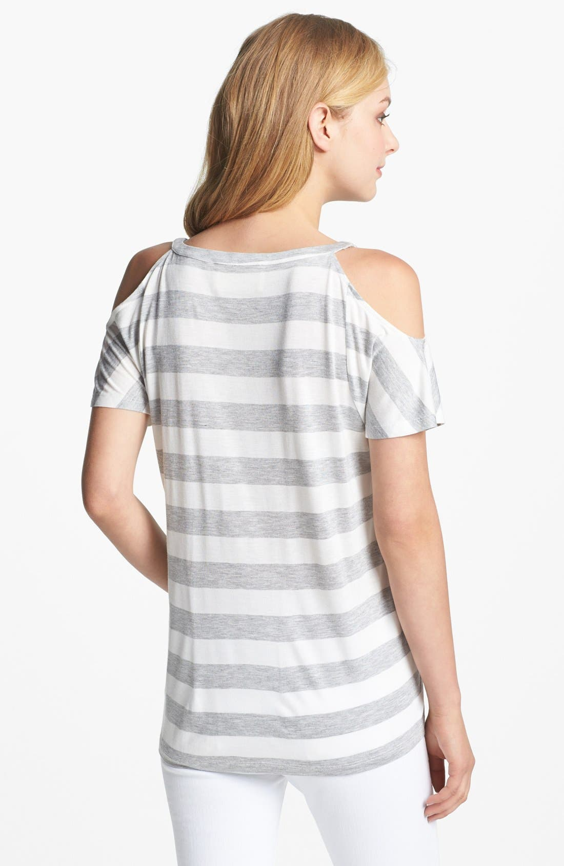 TWO BY VINCE CAMUTO,                             Stripe Cold Shoulder Tee,                             Alternate thumbnail 2, color,                             097