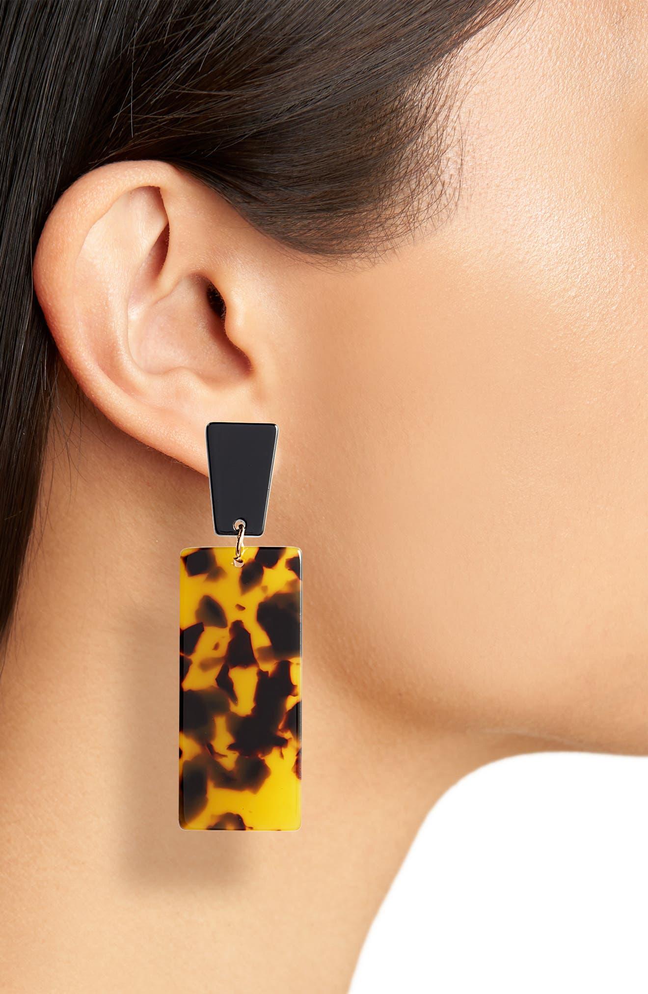 Resin Linear Drop Earrings,                             Alternate thumbnail 2, color,                             001