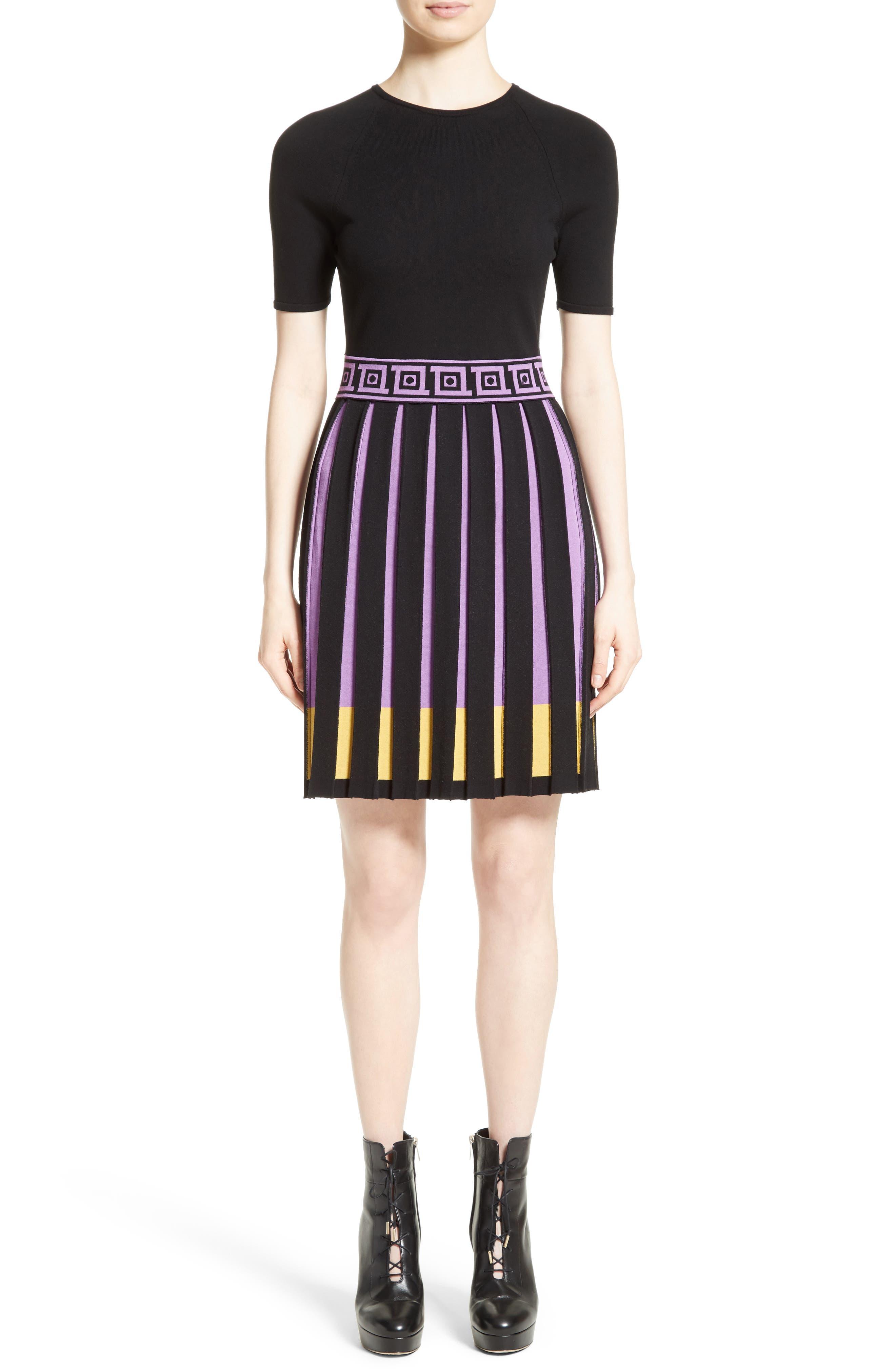 Knit Fit & Flare Dress,                             Main thumbnail 1, color,                             009