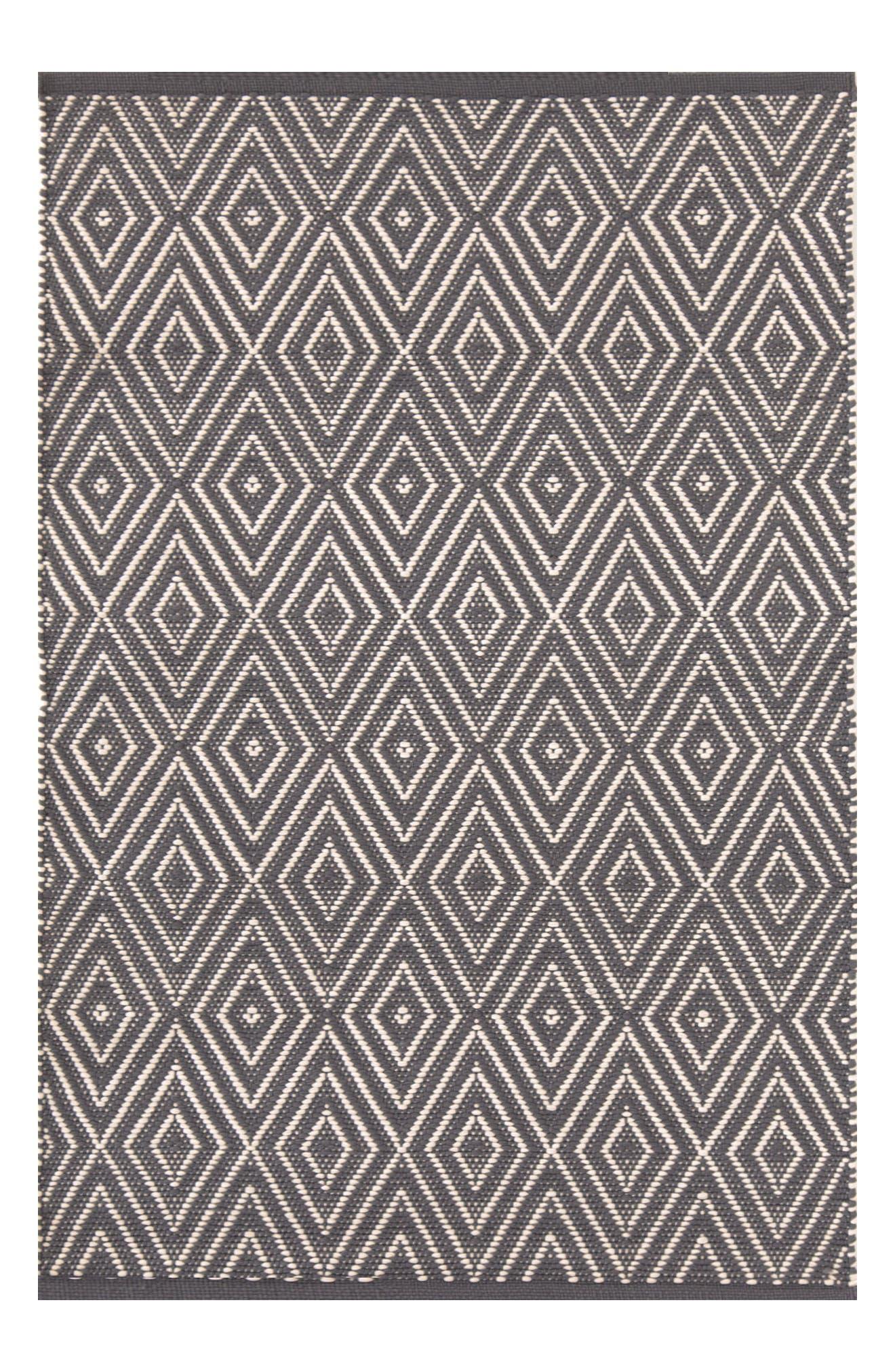 Diamond Print Rug,                             Main thumbnail 1, color,                             GREY
