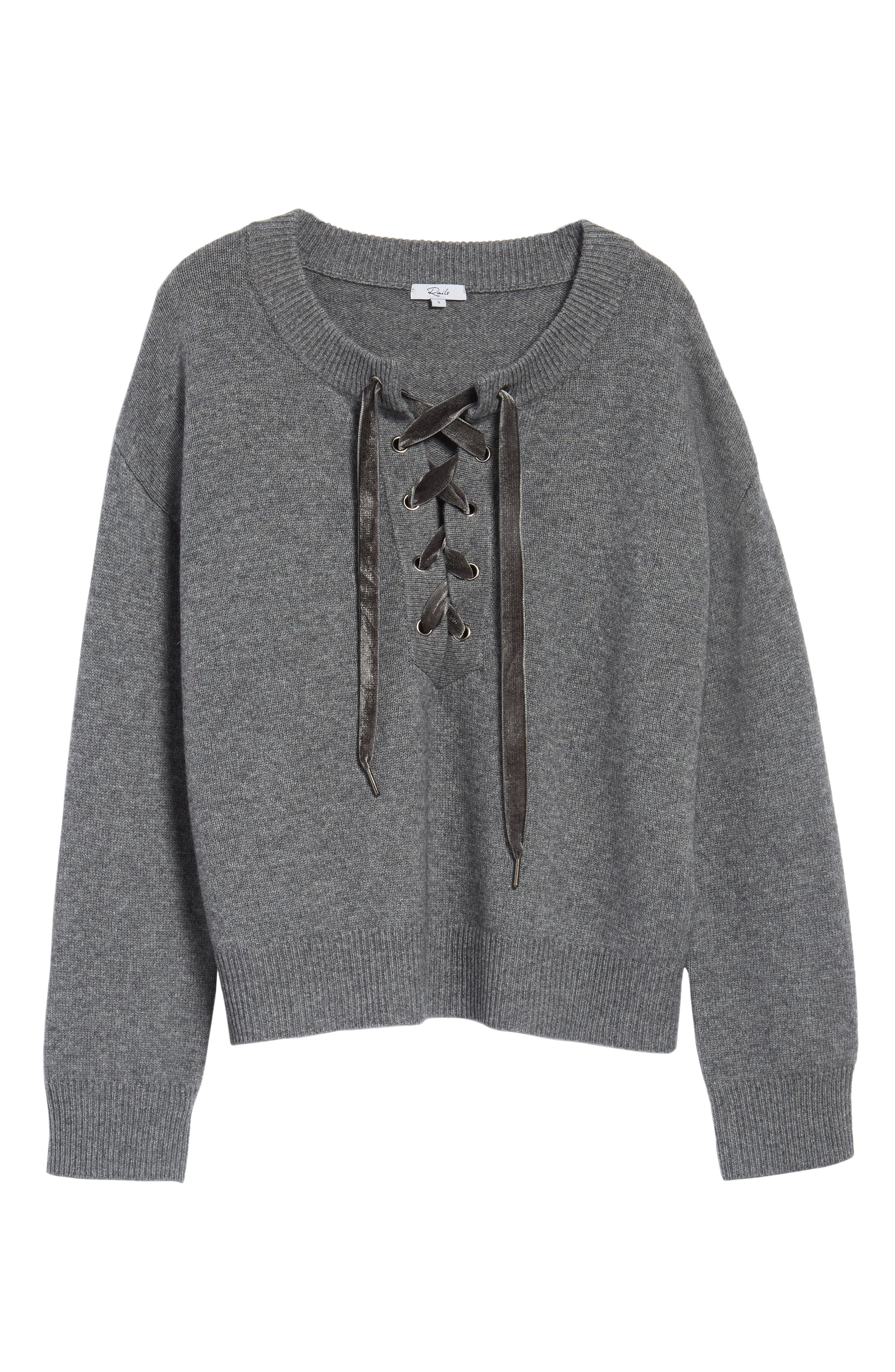 Olivia Lace-Up Sweater,                             Alternate thumbnail 7, color,                             ASH