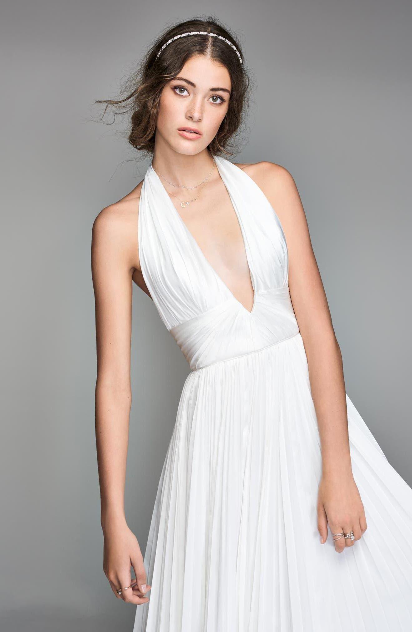 Badri Charmeuse Pleated Halter Gown,                             Alternate thumbnail 3, color,                             DIAMOND WHITE