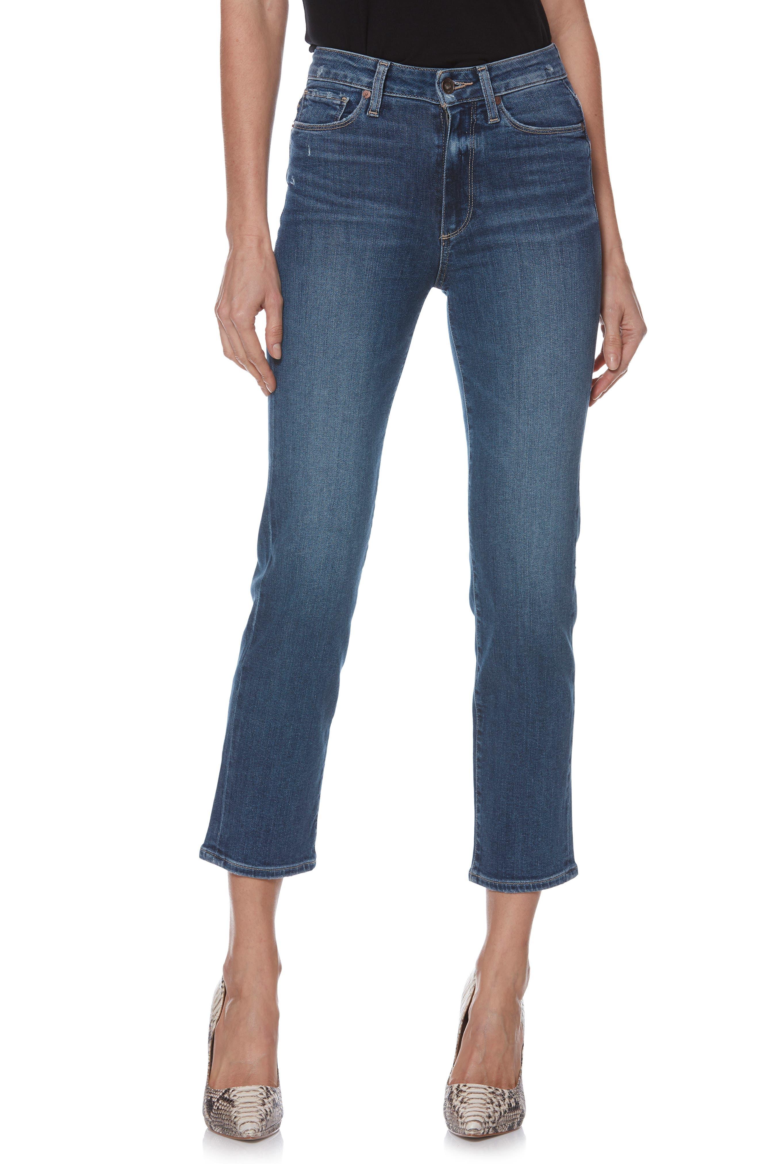 Transcend Vintage - Margot High Waist Ankle Straight Leg Jeans,                             Main thumbnail 1, color,                             HANNIE