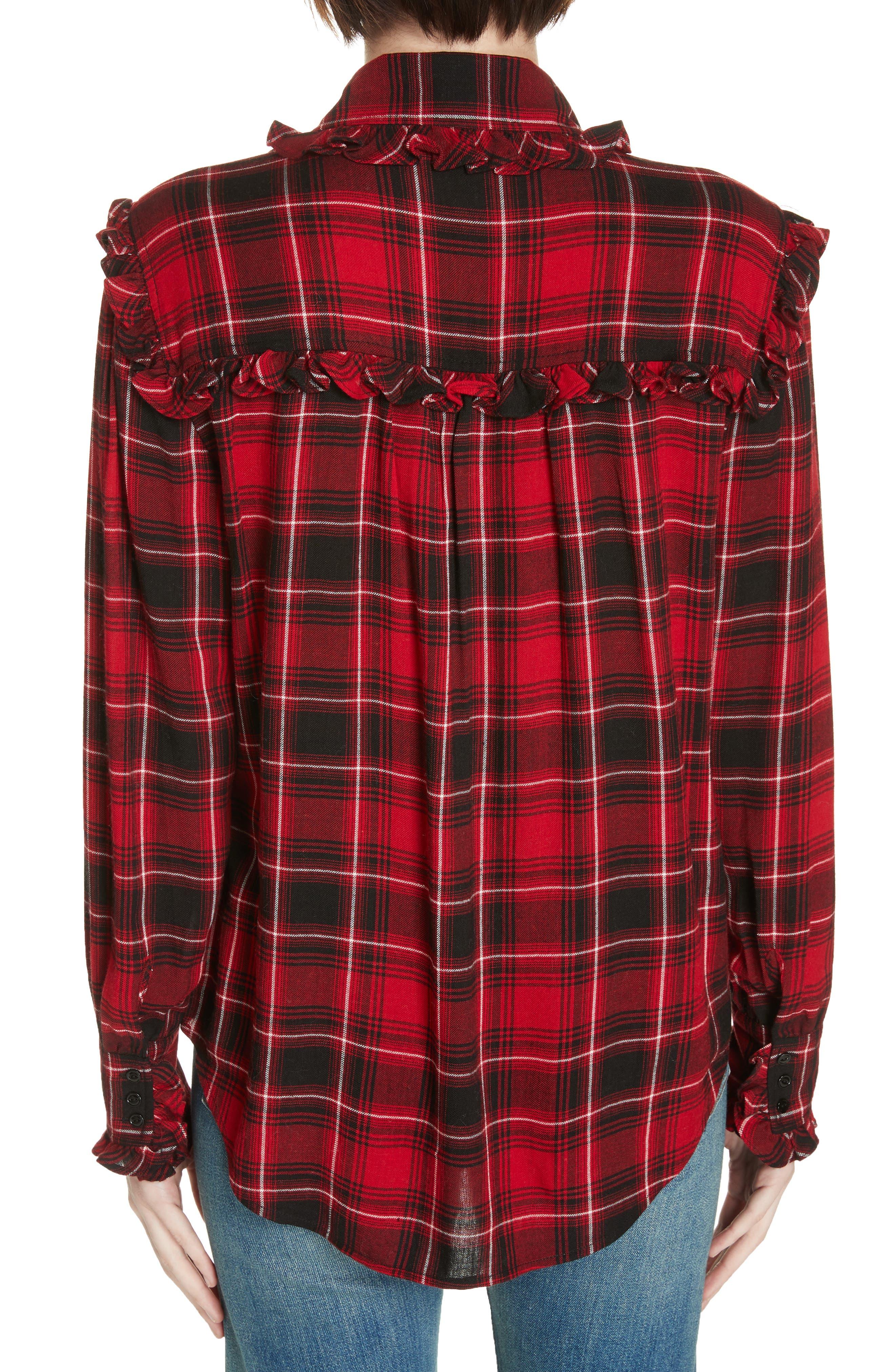 Ruffle Plaid Shirt,                             Alternate thumbnail 2, color,                             RED/ BLACK