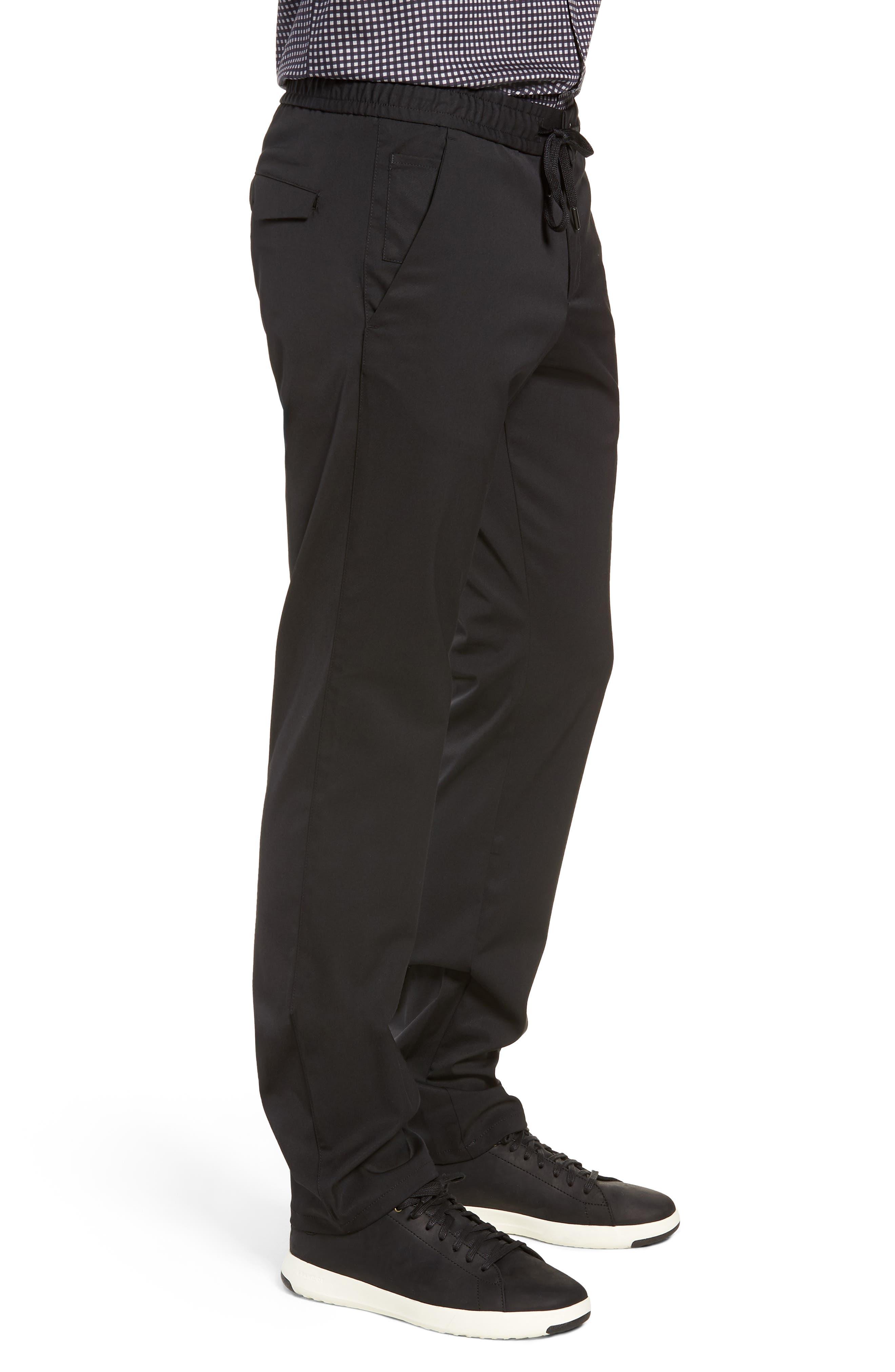 Drawstring Flat Front Pants,                             Alternate thumbnail 3, color,                             BLACK