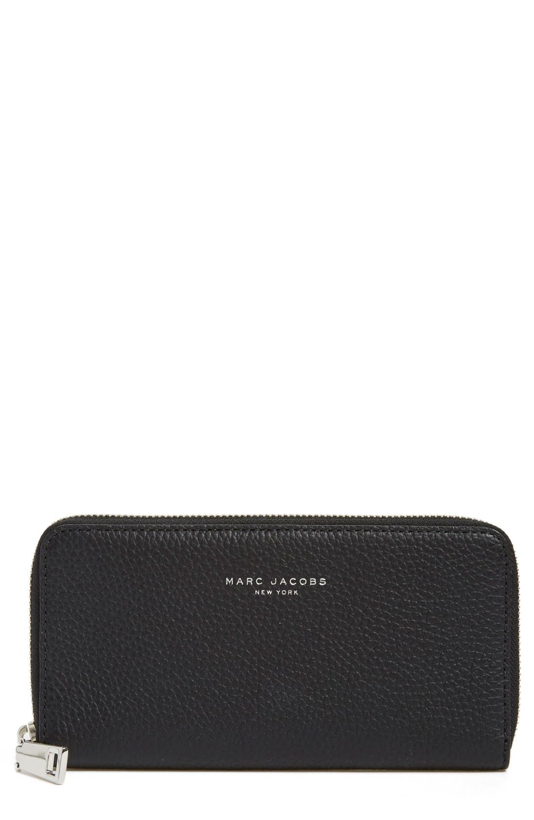 'Pike Place Vertical Zippy' Leather Zip Around Wallet, Main, color, 001