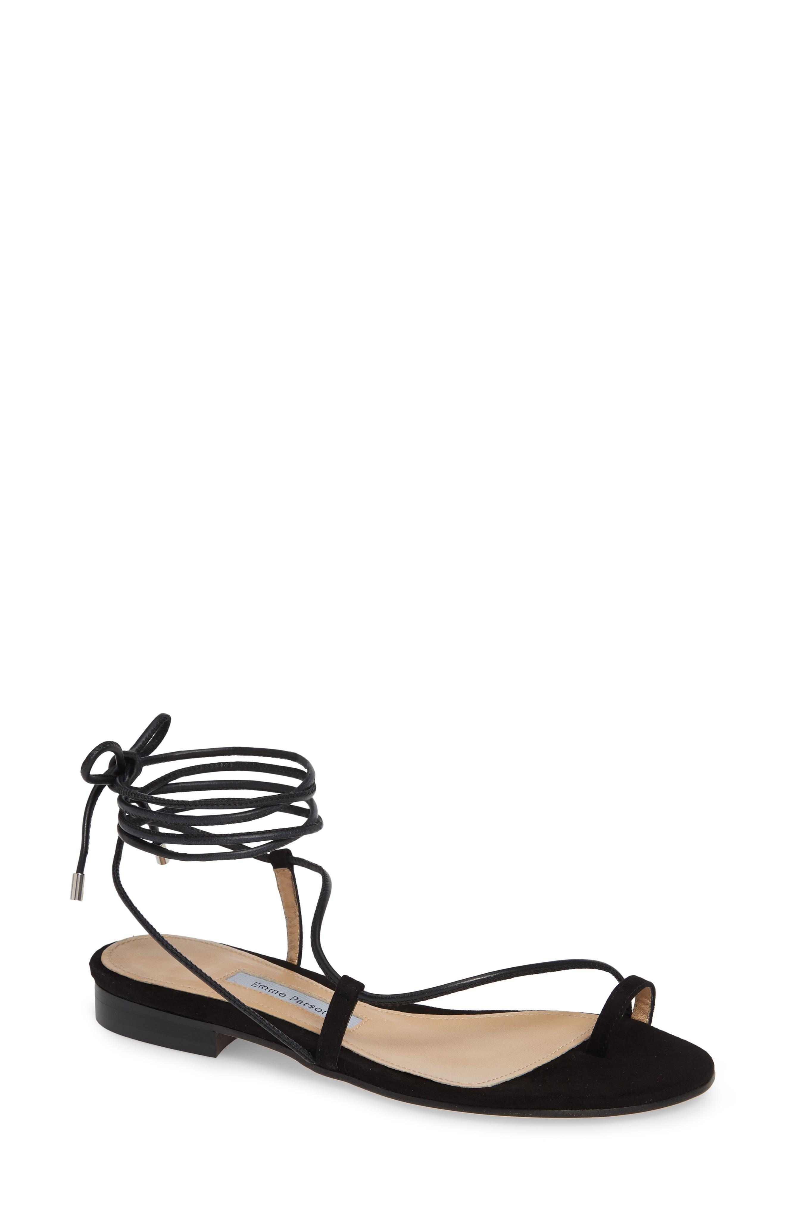 EMME PARSONS Susan Ankle Tie Sandal in Black