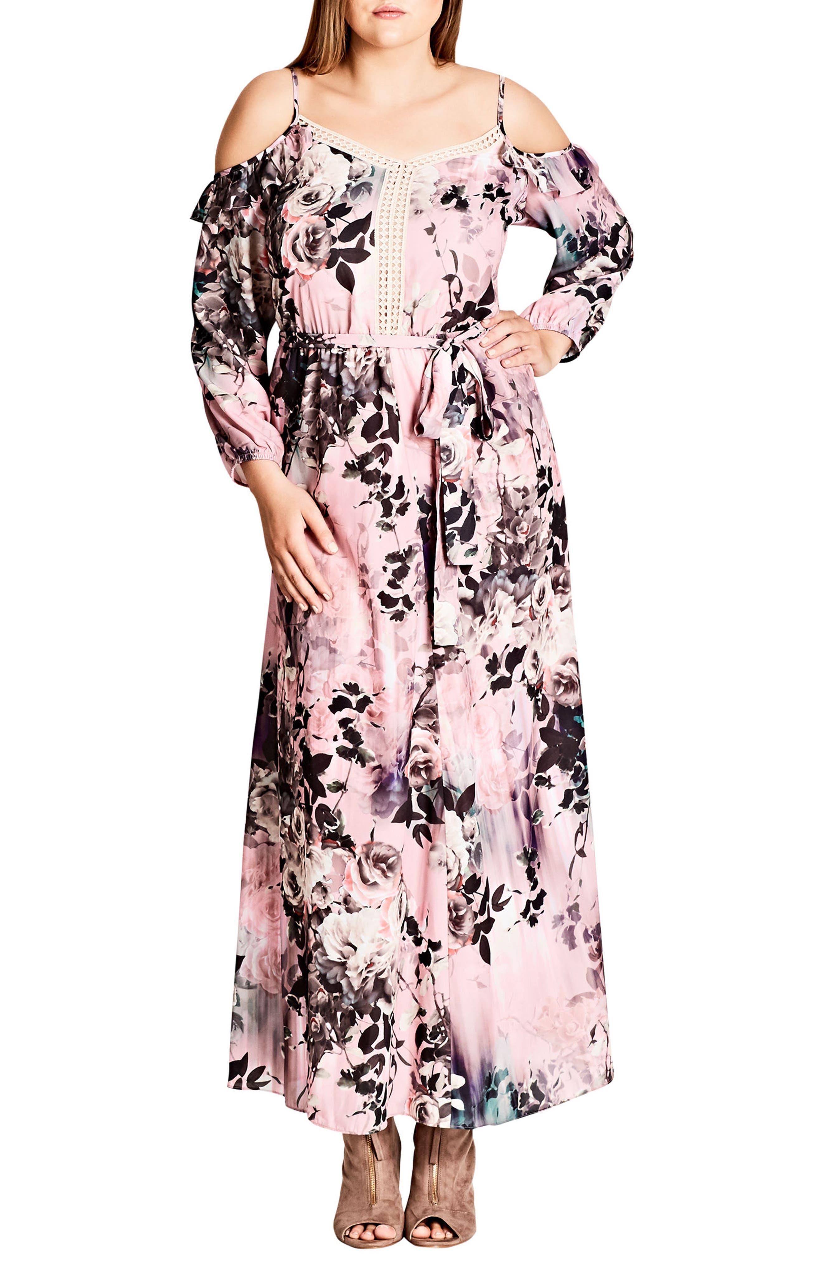 Plus Size City Chic Divine Rose Cold Shoulder Maxi Dress, Red