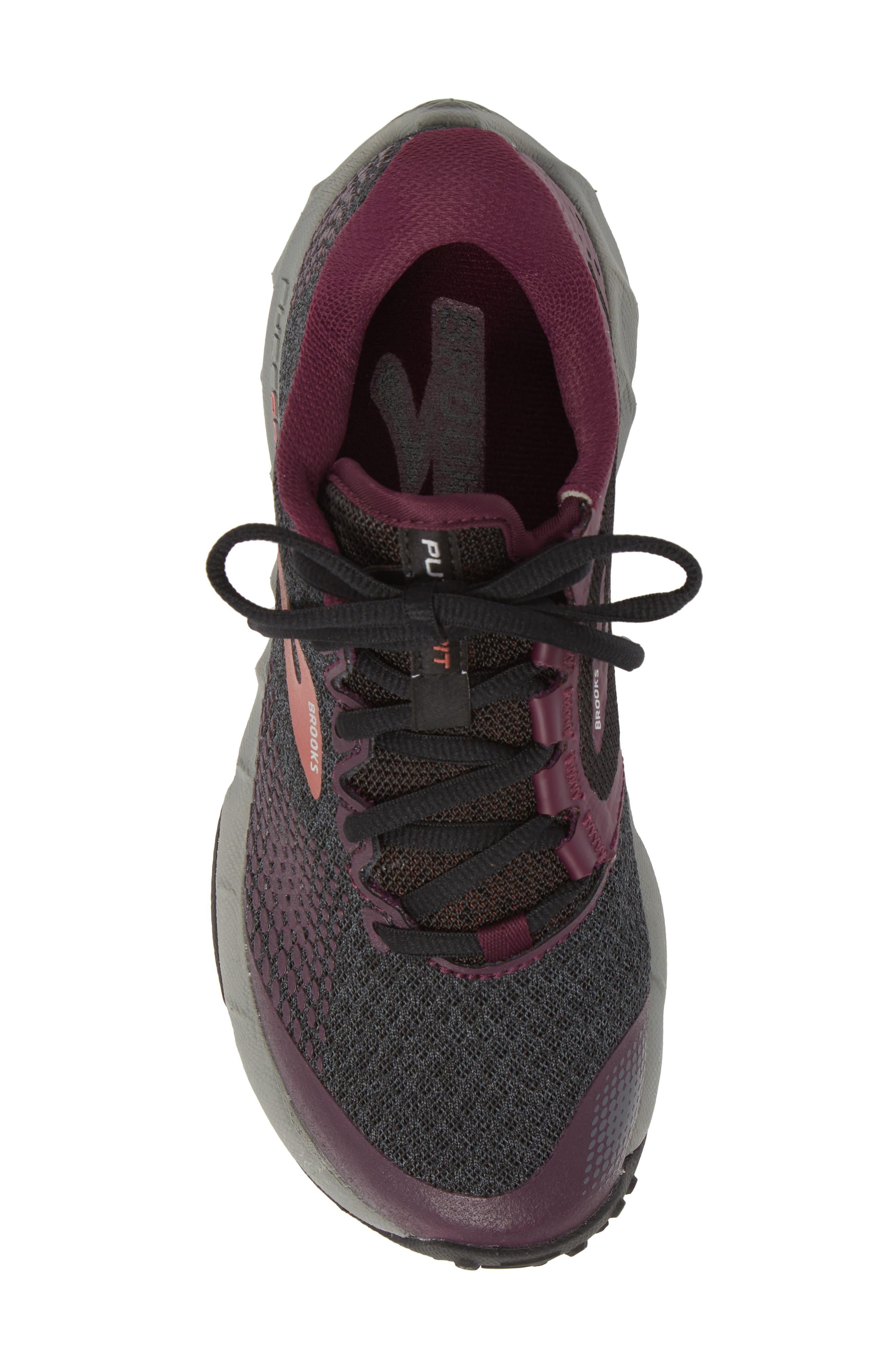PureGrit 7 Trail Running Shoe,                             Alternate thumbnail 5, color,                             BLACK/ PURPLE/ GREY