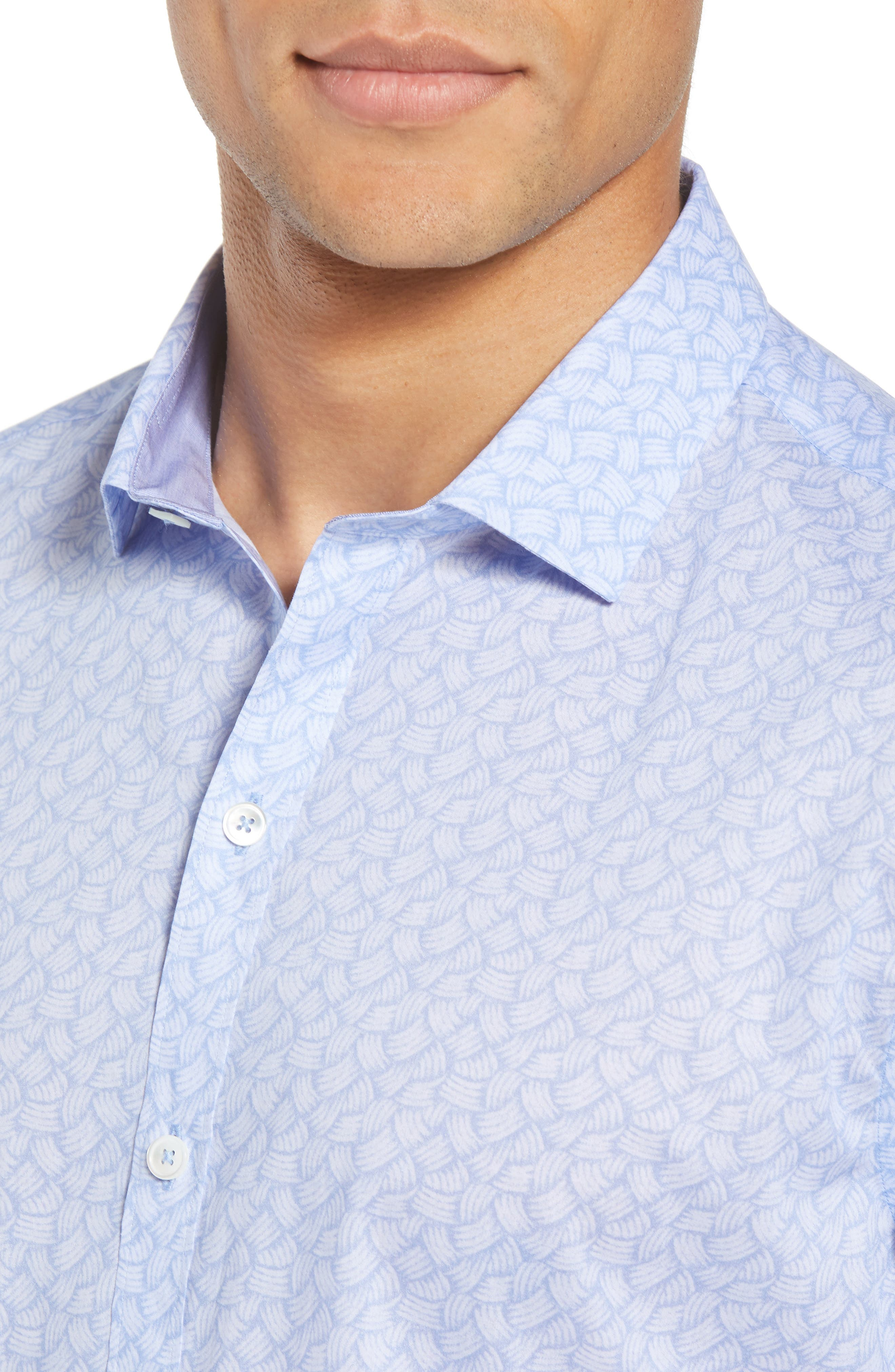 Garrett Trim Fit Sport Shirt,                             Alternate thumbnail 4, color,                             BLUE