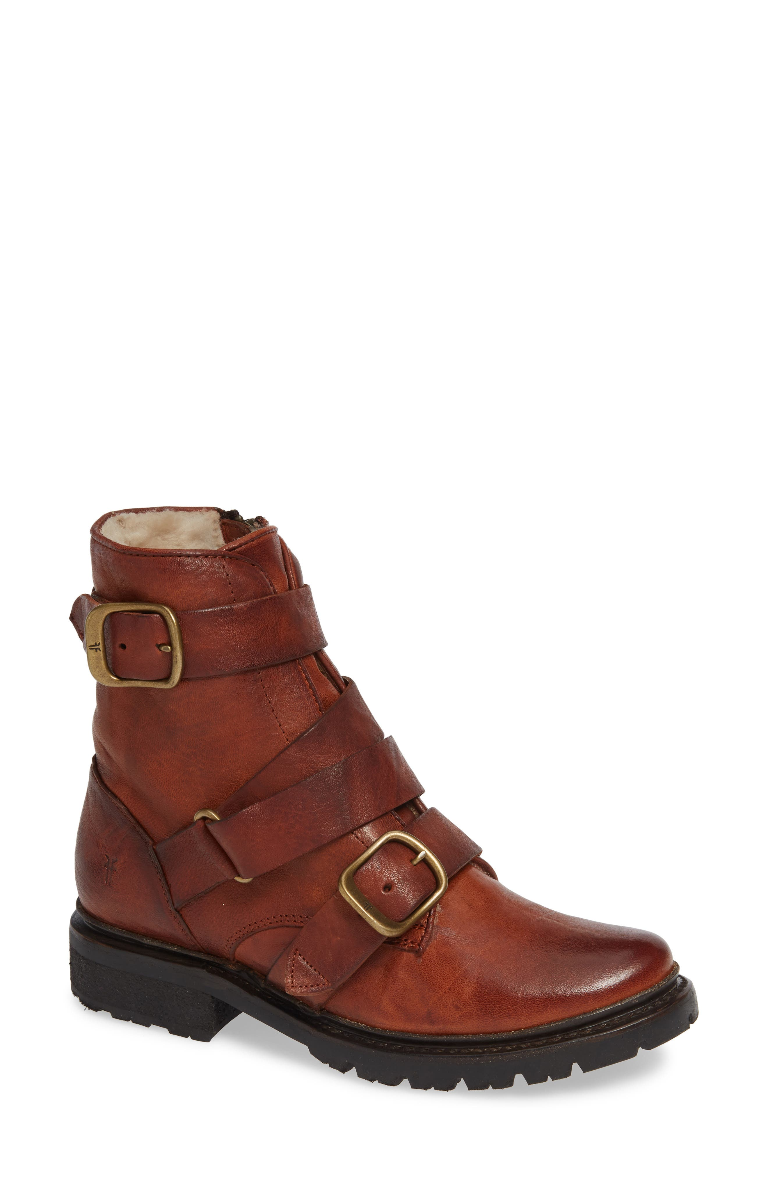 Vanessa Tanker Genuine Shearling Lined Boot,                             Main thumbnail 1, color,                             COGNAC LEATHER